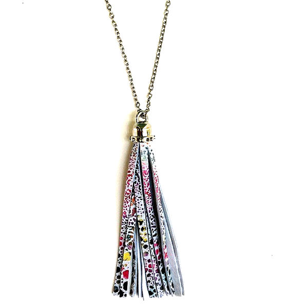 Sundance Leather Design Tassel Necklace
