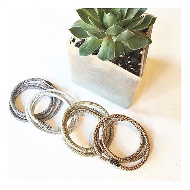 Wrapping up the week + excited for the weekend. Friday shout out to our Stingray Leather Wrap Bracelet for being a key player every day of the week!