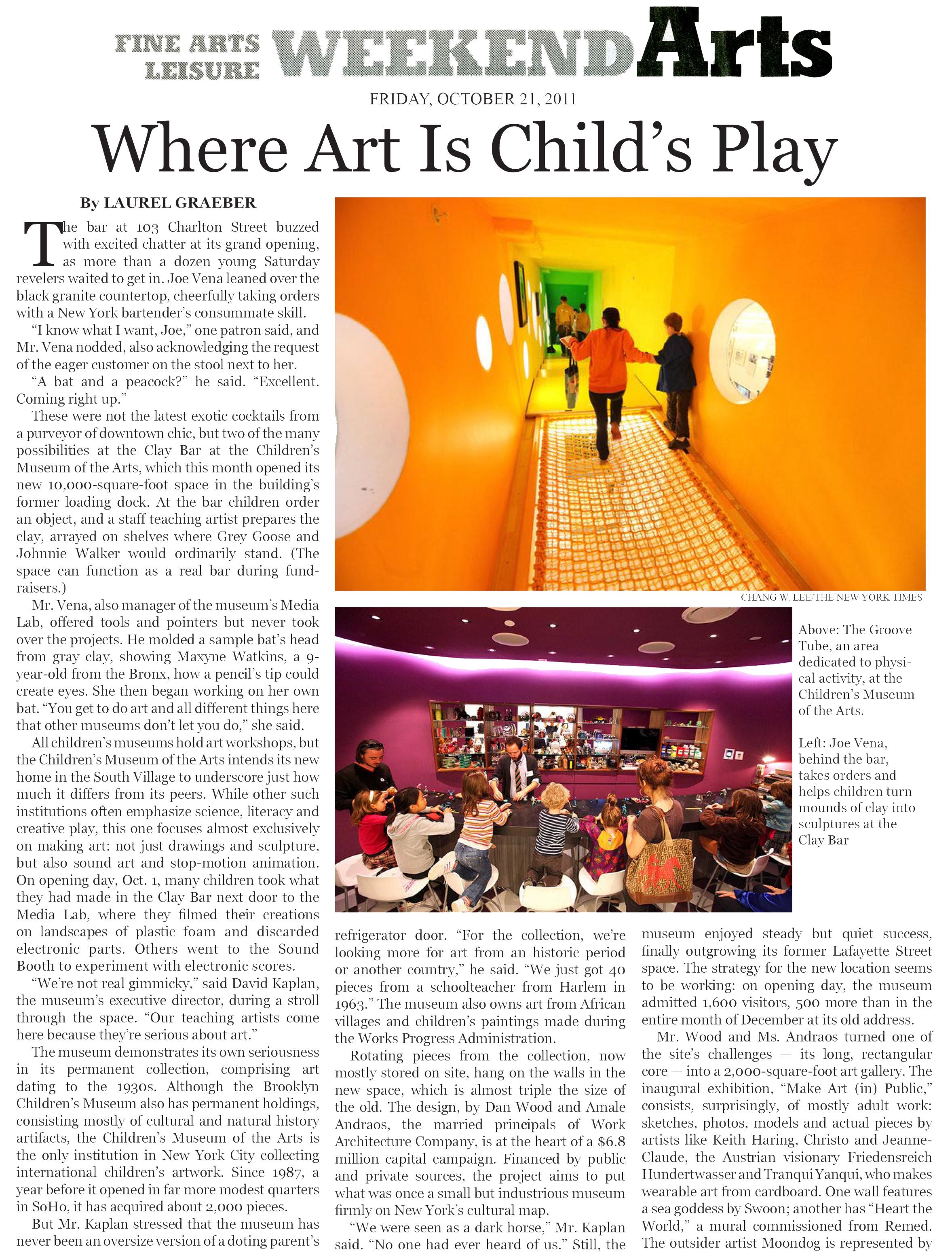 NYT Where Art is Child's Play 10.21.jpg