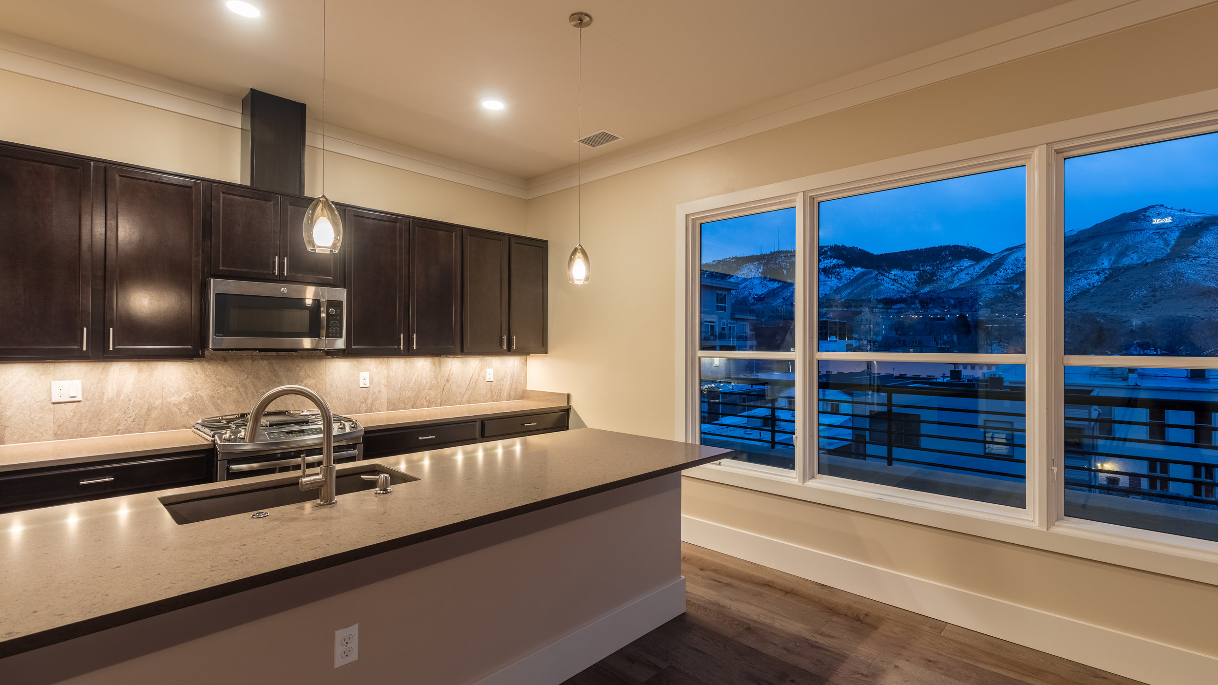 MINERS POINT  | 701 12th Street | View from Kitchen at Dusk | Sold & Occupied Unit