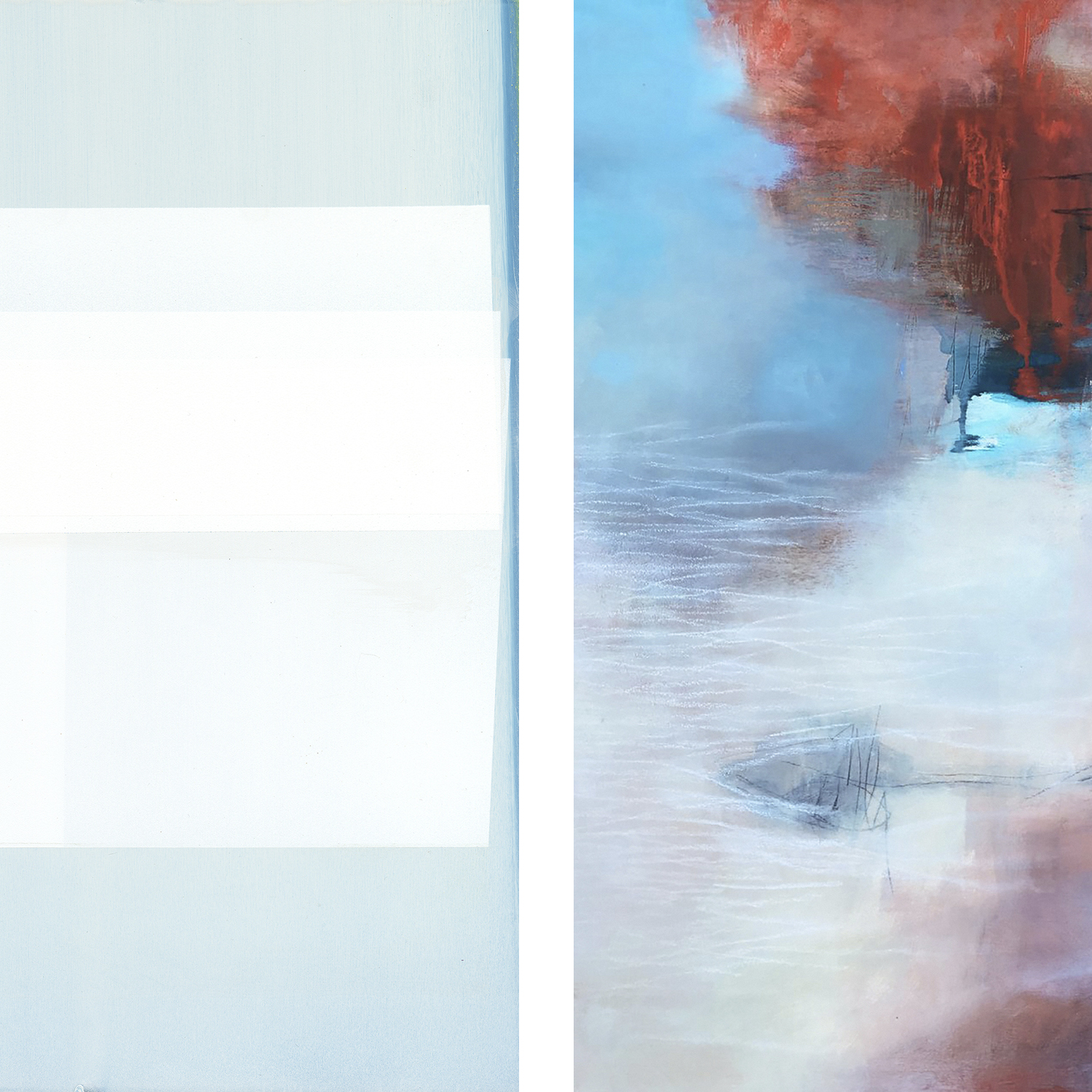 """Portion of """"Burnside (Northern Portrait)"""" by Jeffrey Cortland Jones (left) and portion of """"Without Words"""" by Sara Pittman (right)"""