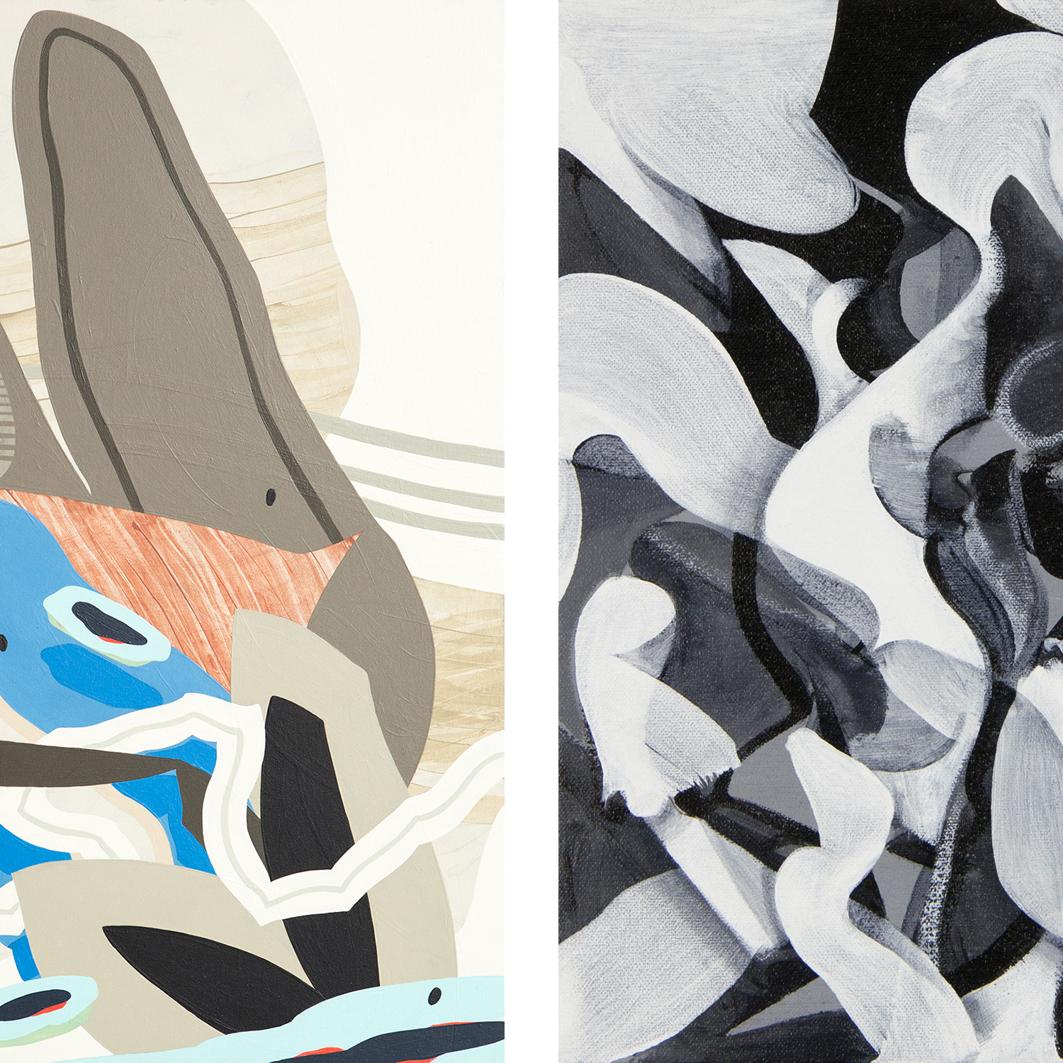 """Portion of """"Moving In Silence 1"""" by Ruben Aguirre (left) and portion of """"Untitled"""" by Victor Lopez (right)"""