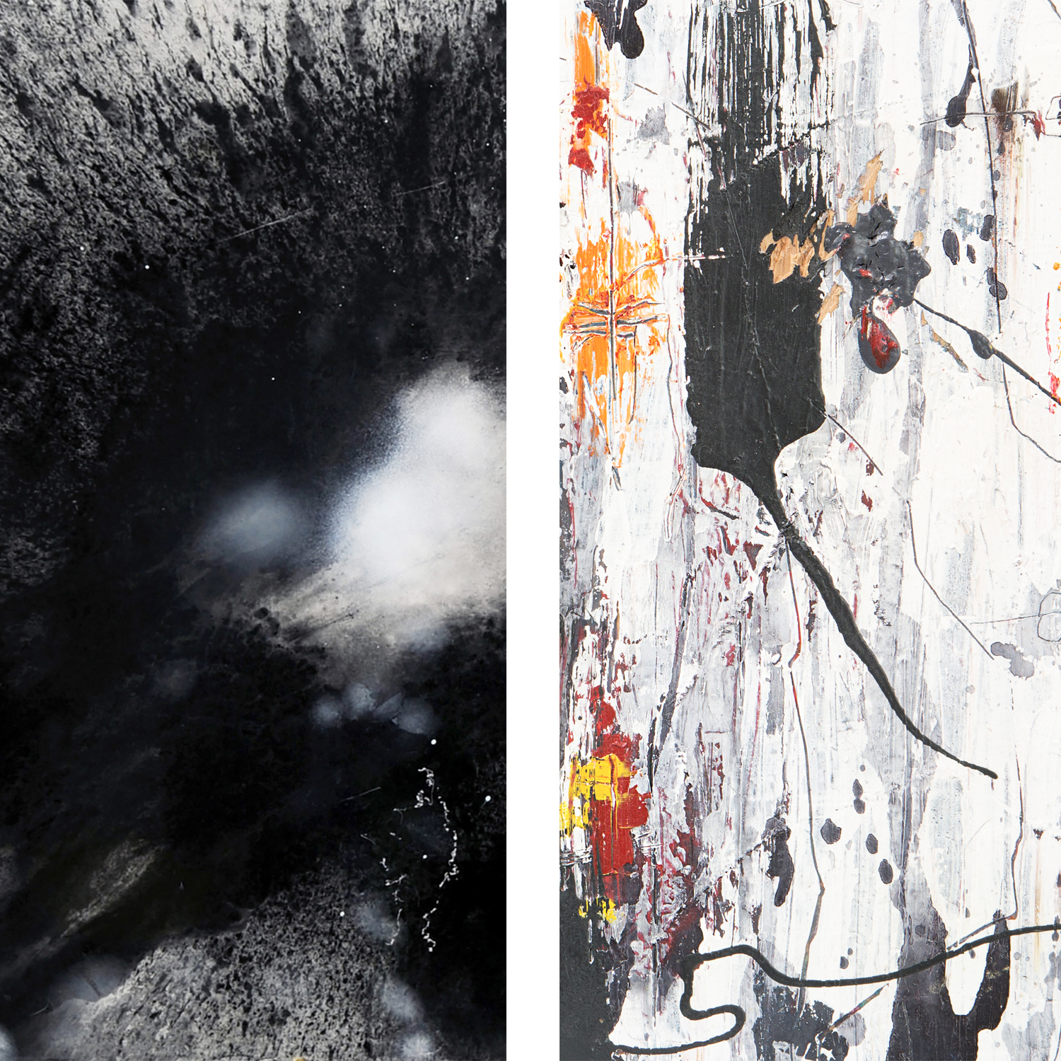 """Portion of """"Untitled I"""" by Joe Reich (left) and portion of """"Common Scars Brought Us Together"""" by Chris Trejo (right)"""