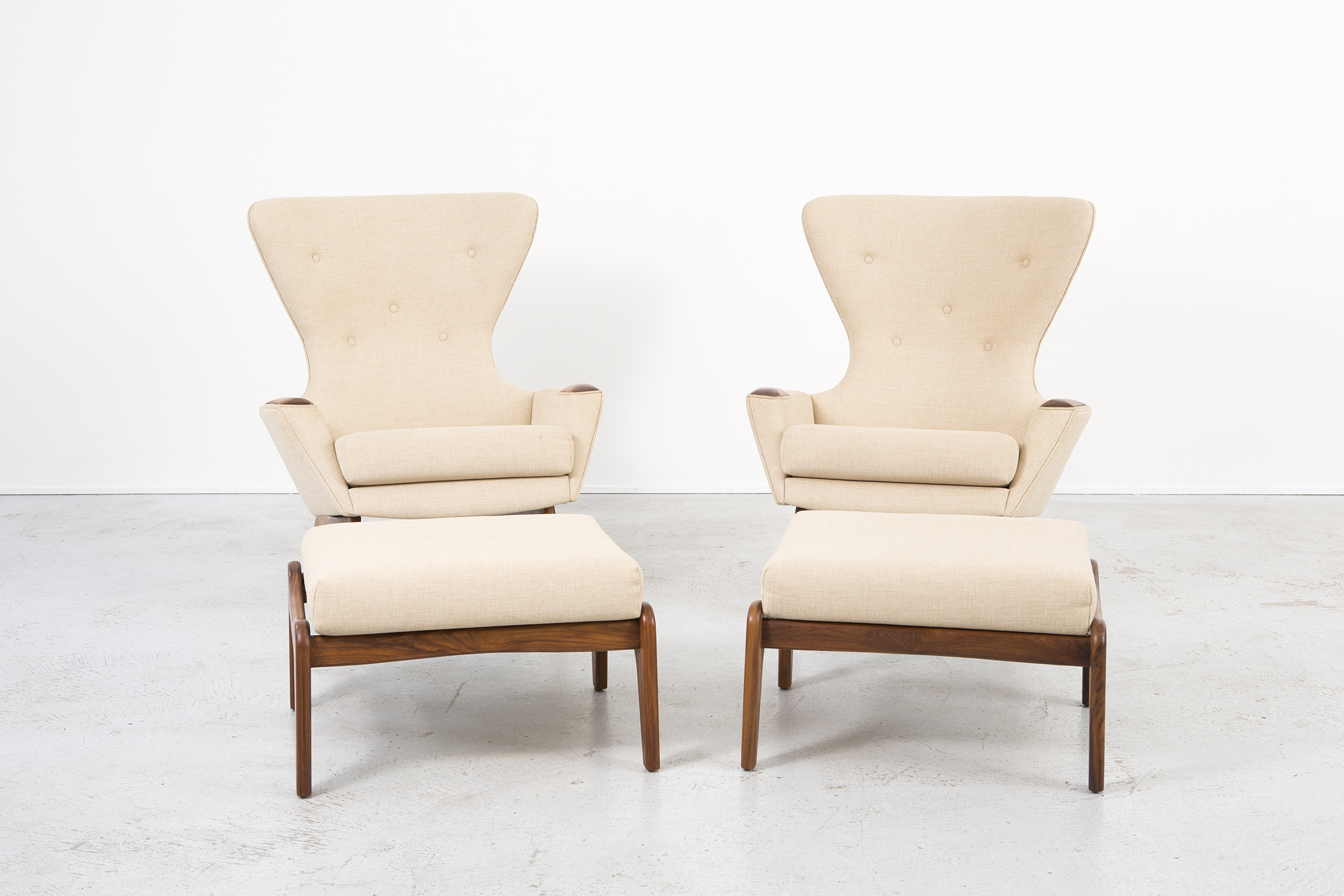Set of Adrian Pearsall Wingback Chairs and Ottomans.jpg