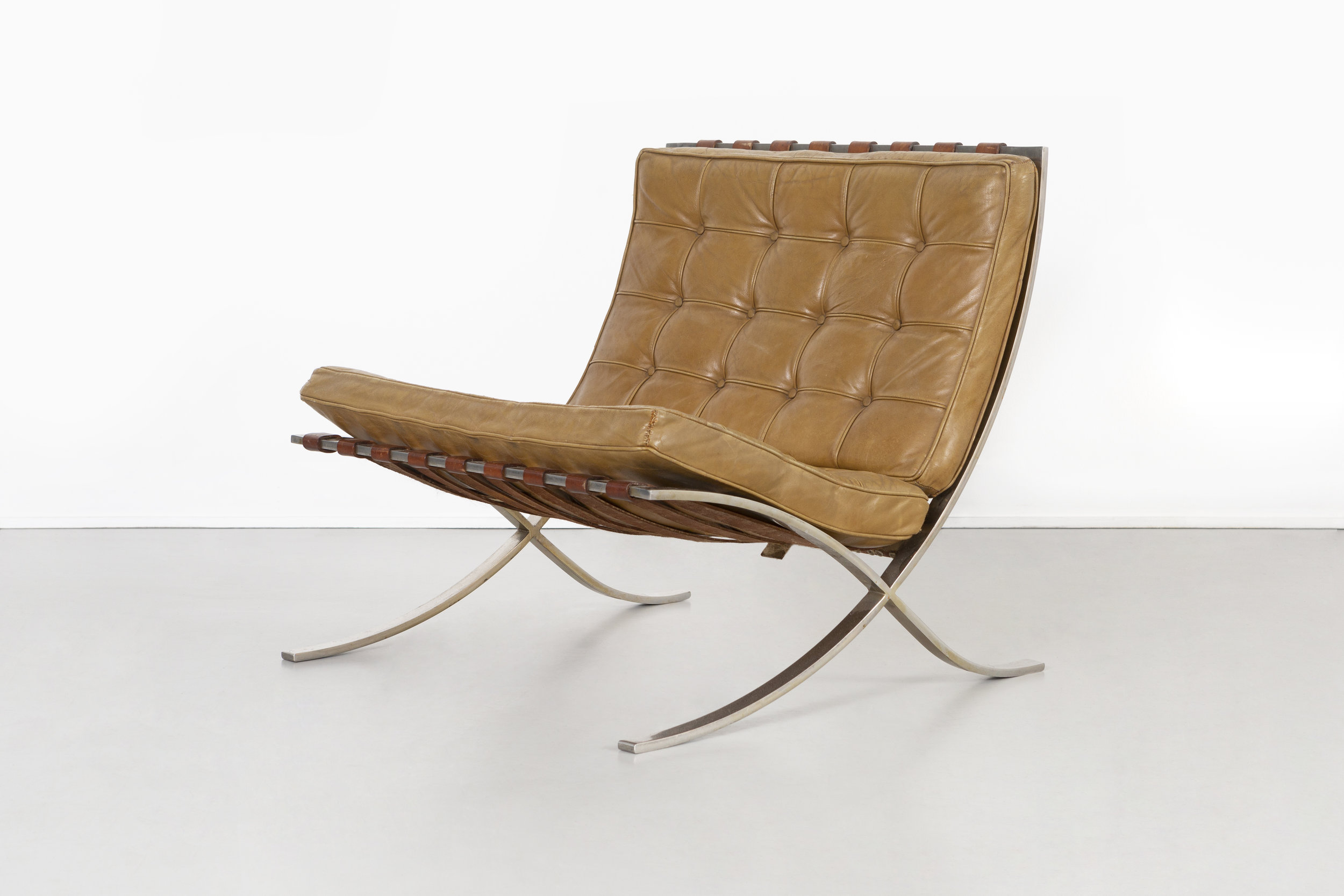 The show includes a  Barcelona chair  with a prototype cushion that Mies designed for his towers at 860–880 Lake Shore Drive. The chair, as well as never-before-seen ephemera, is on loan from T. Paul Young, an architect who worked in Mies's studio.