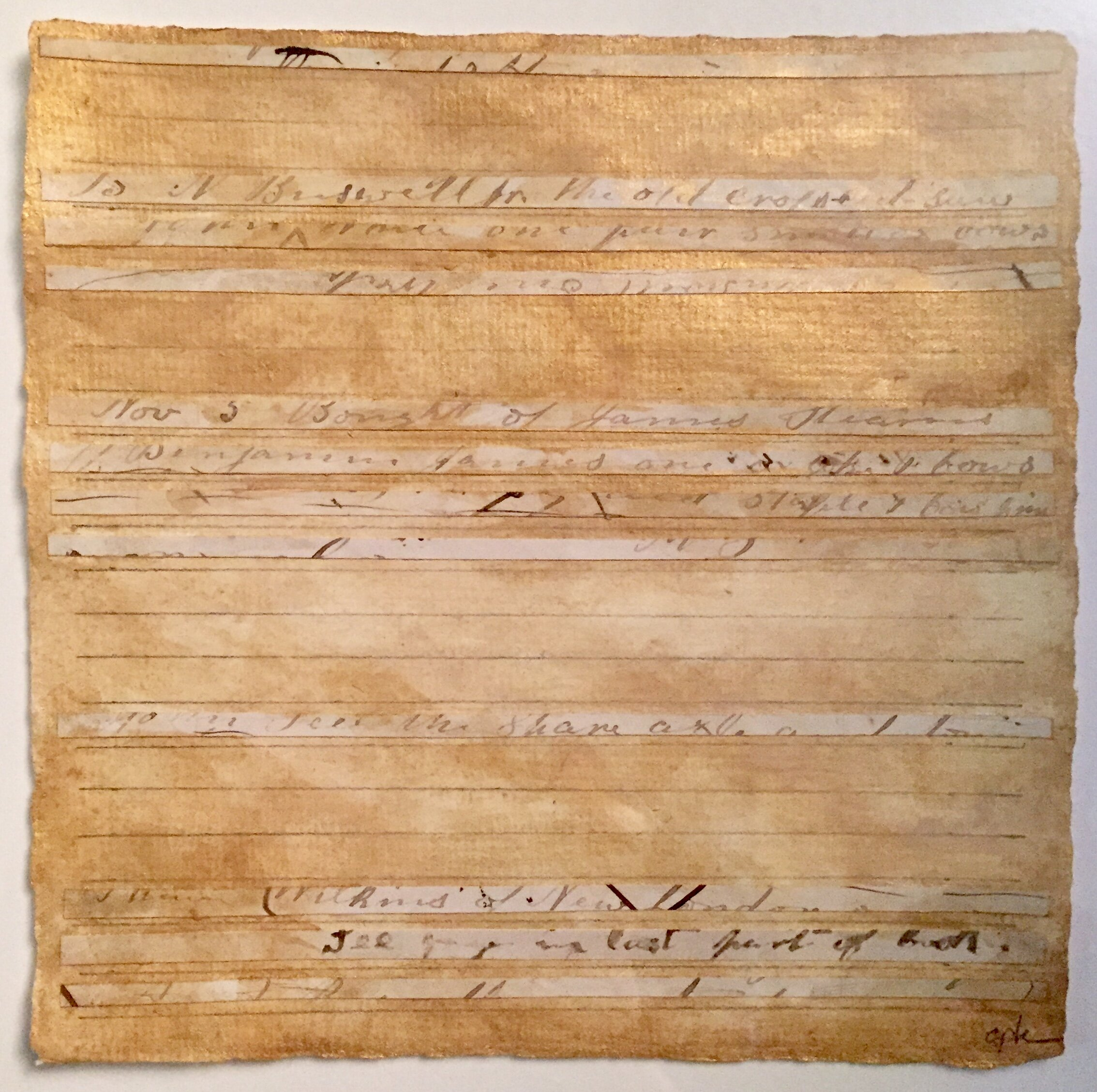 Kunstadt_C_Markings No. 2,  fragments from journal 1860, gouache, grpahite on paper, 6 x 6 in.jpg