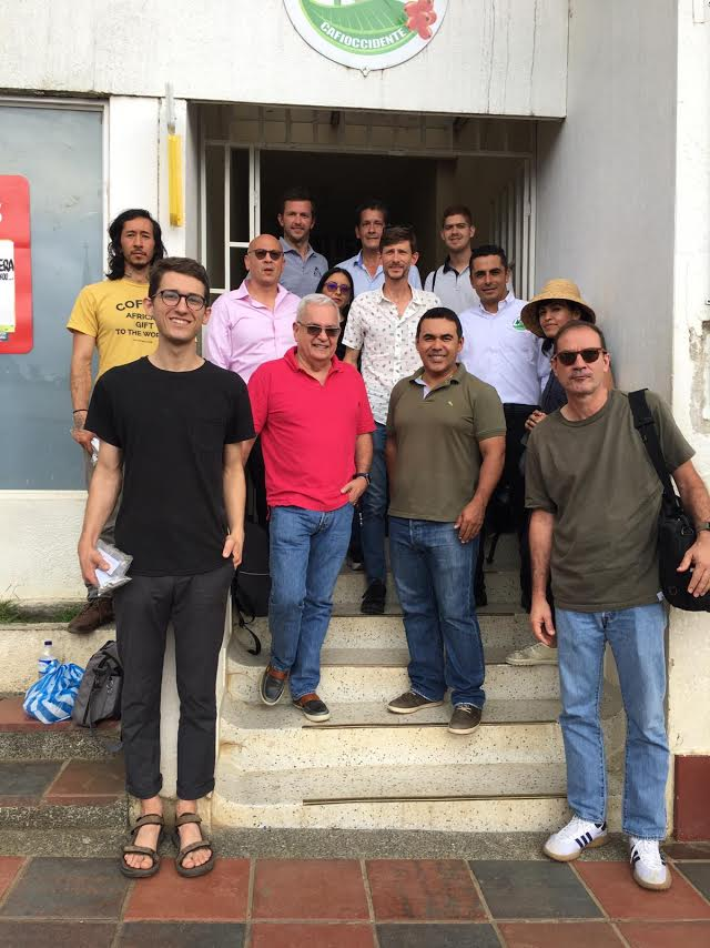 Members of CAFIOCCIDENTE, Coffee for Peace, and coffee buyers at CAFIOCCIDENTE's office and cupping lab in Ristrepo.