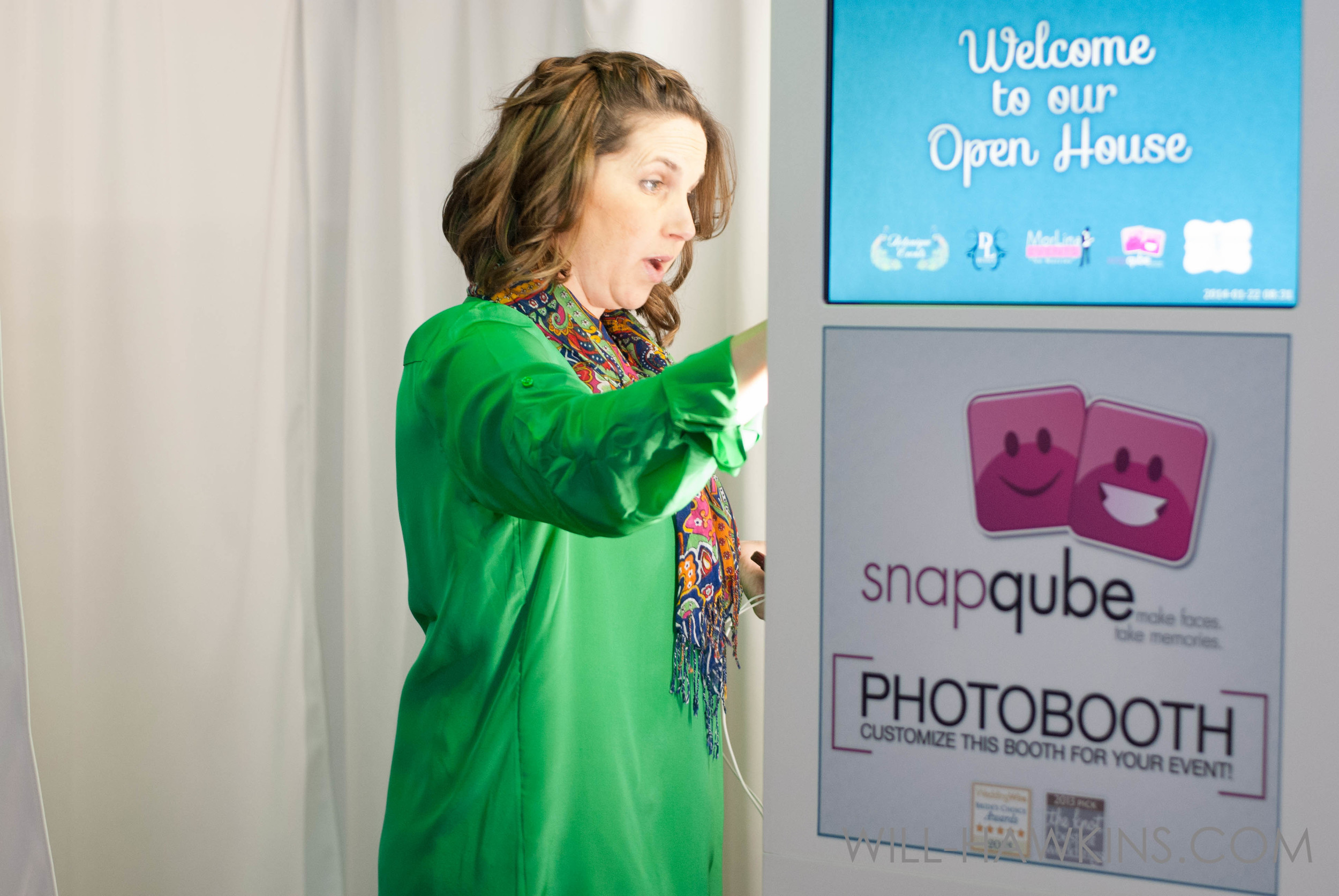 Amber preparing the  SnapQube Booth  for the night!