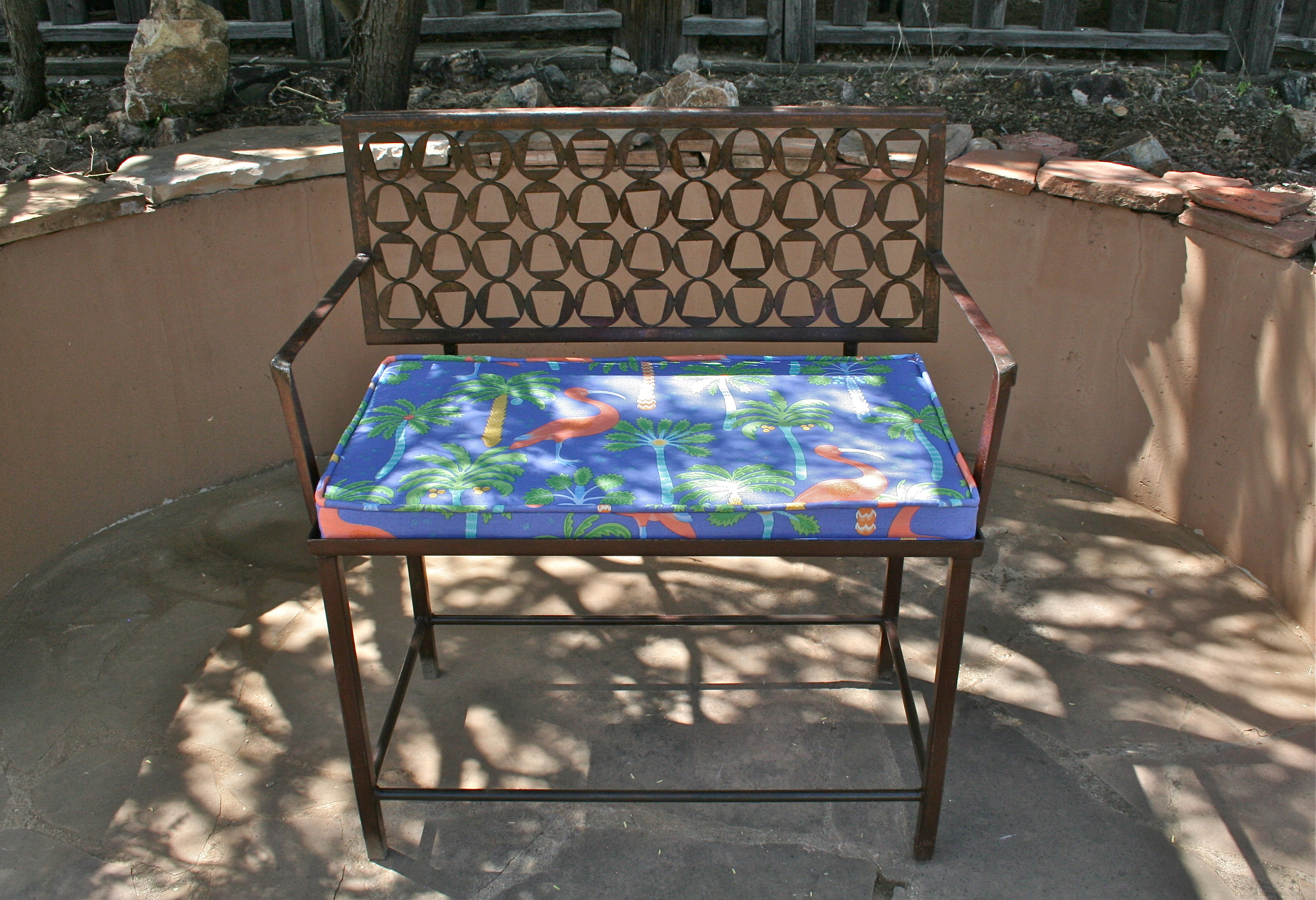 Garden Bench, solid recycled metal.