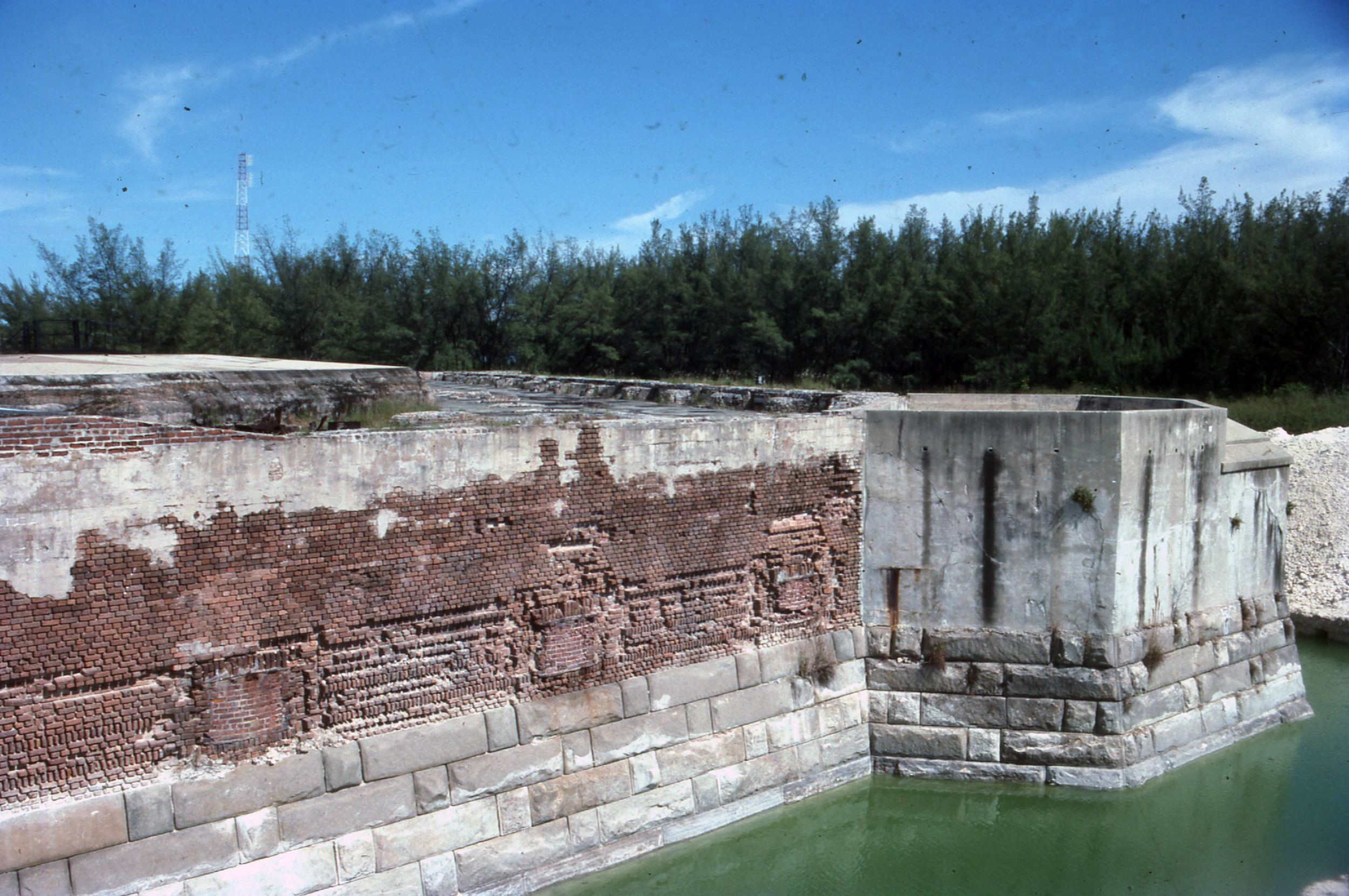 1988 - Moat placed along Fort walls, fill excavated from around the structure