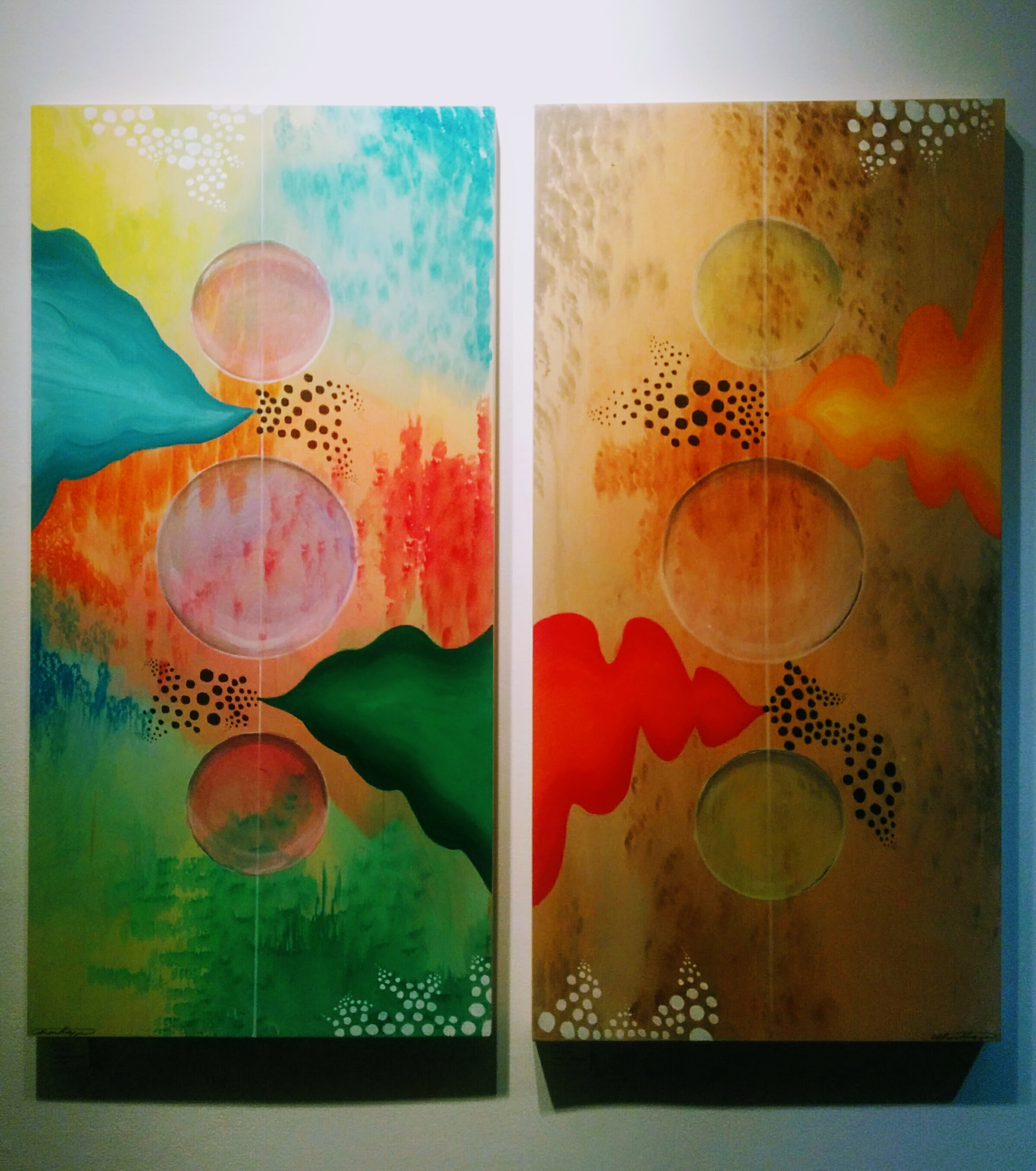 Catherine Harasymiw,  Cosmos A; Cosmos B  (on exhibit at Twist Gallery until Jan 27)