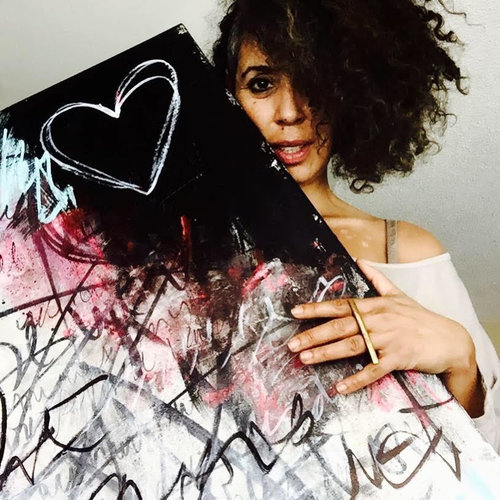 Nadia Lloyd pictured with her art