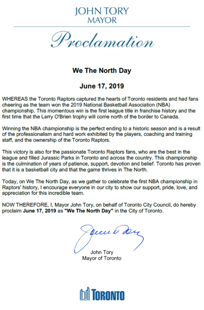 "The official document that declares ""We The North Day"" posted on  Mayor Tory's Twitter."