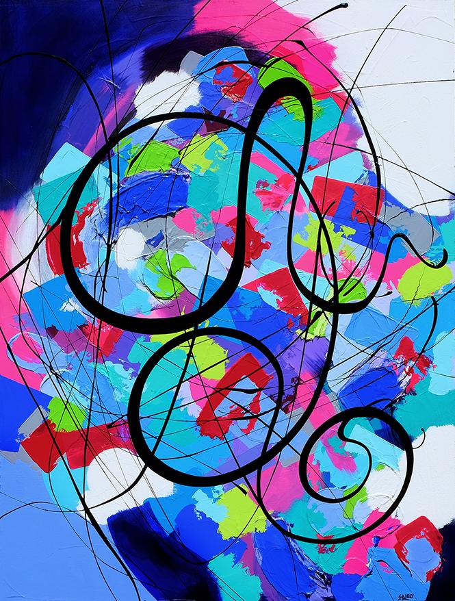 "Figure 1 ""Rebel"" by Sandra Di Leo; 30 X 40 acrylic on canvas; $2,100"