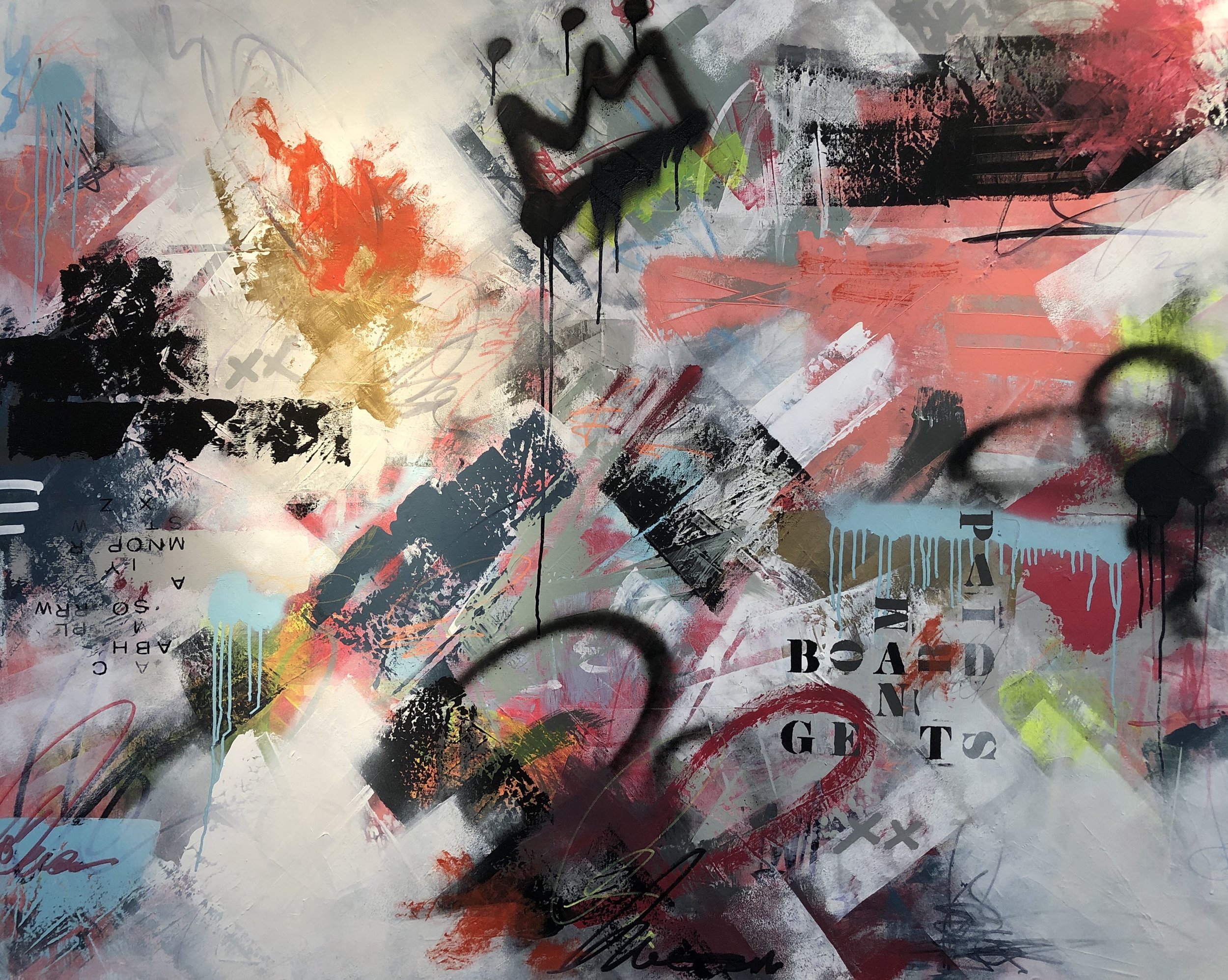 """0.9 seconds� 2019; mixed media on canvas (48 x 60�); $1,900"