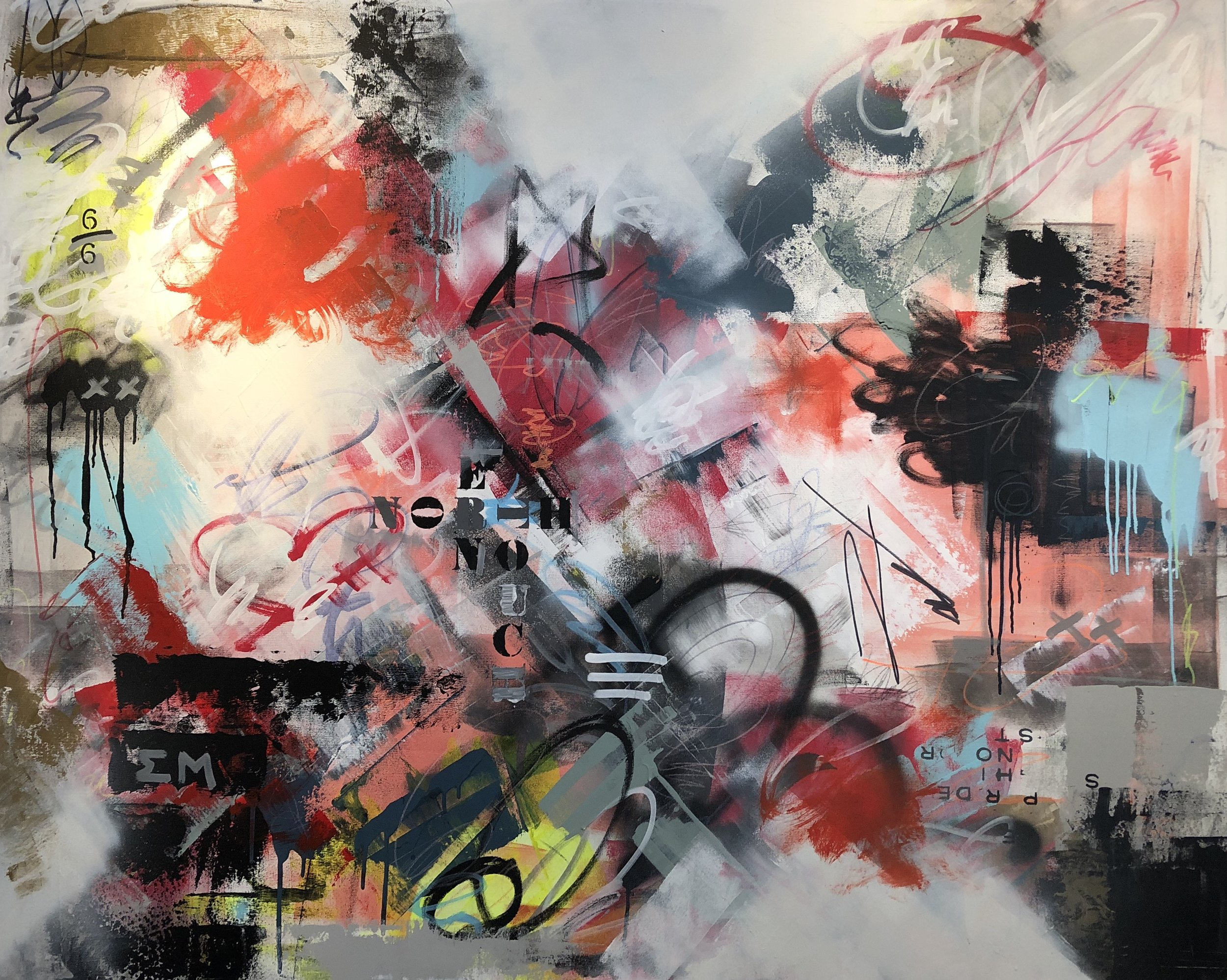 """midnight marauders� 2019; mixed media on canvas (48 x 60�); $1,900"