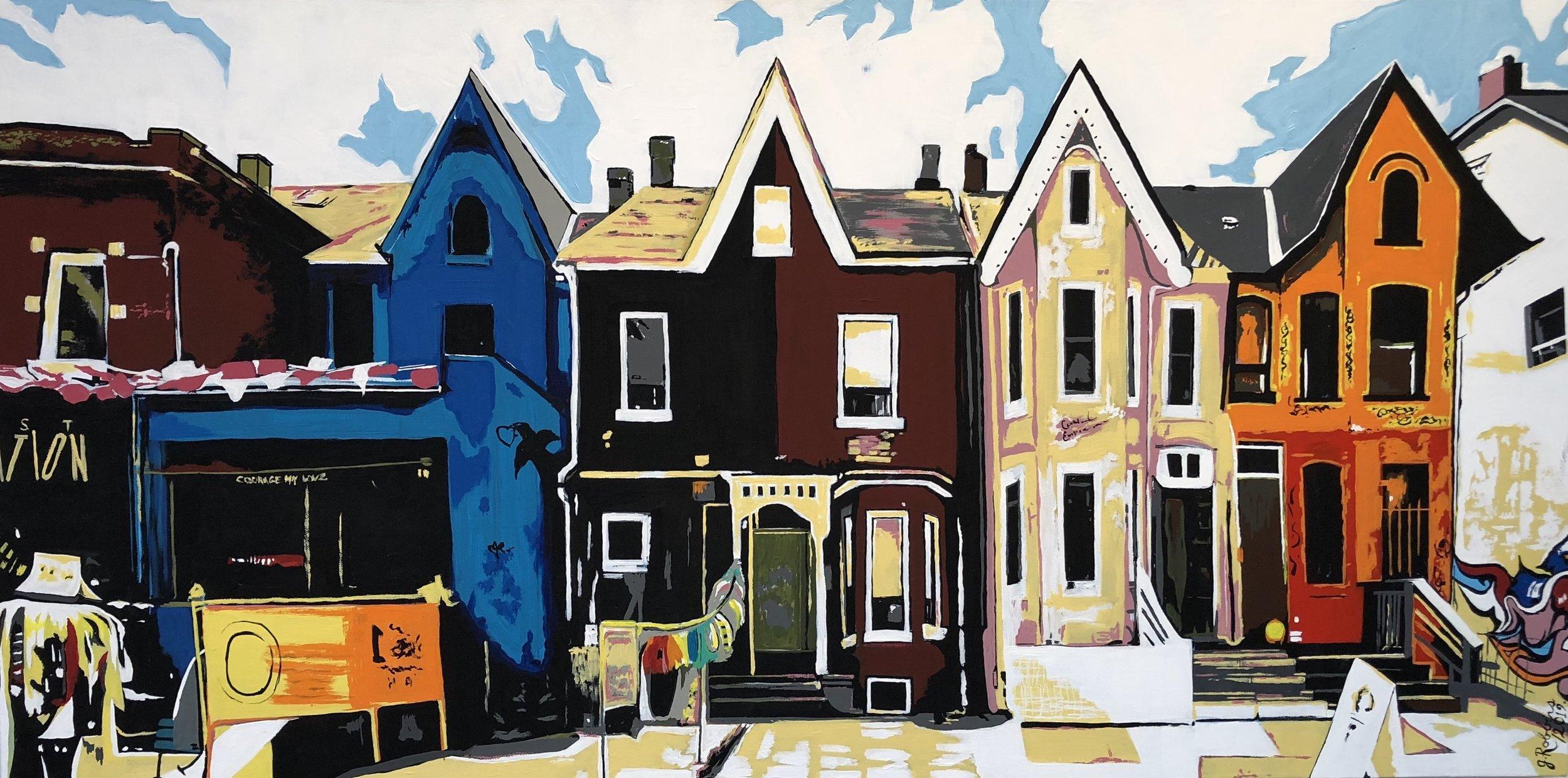 """""""Kensington"""" acrylic on canvas (24""""x 48"""") $850"""