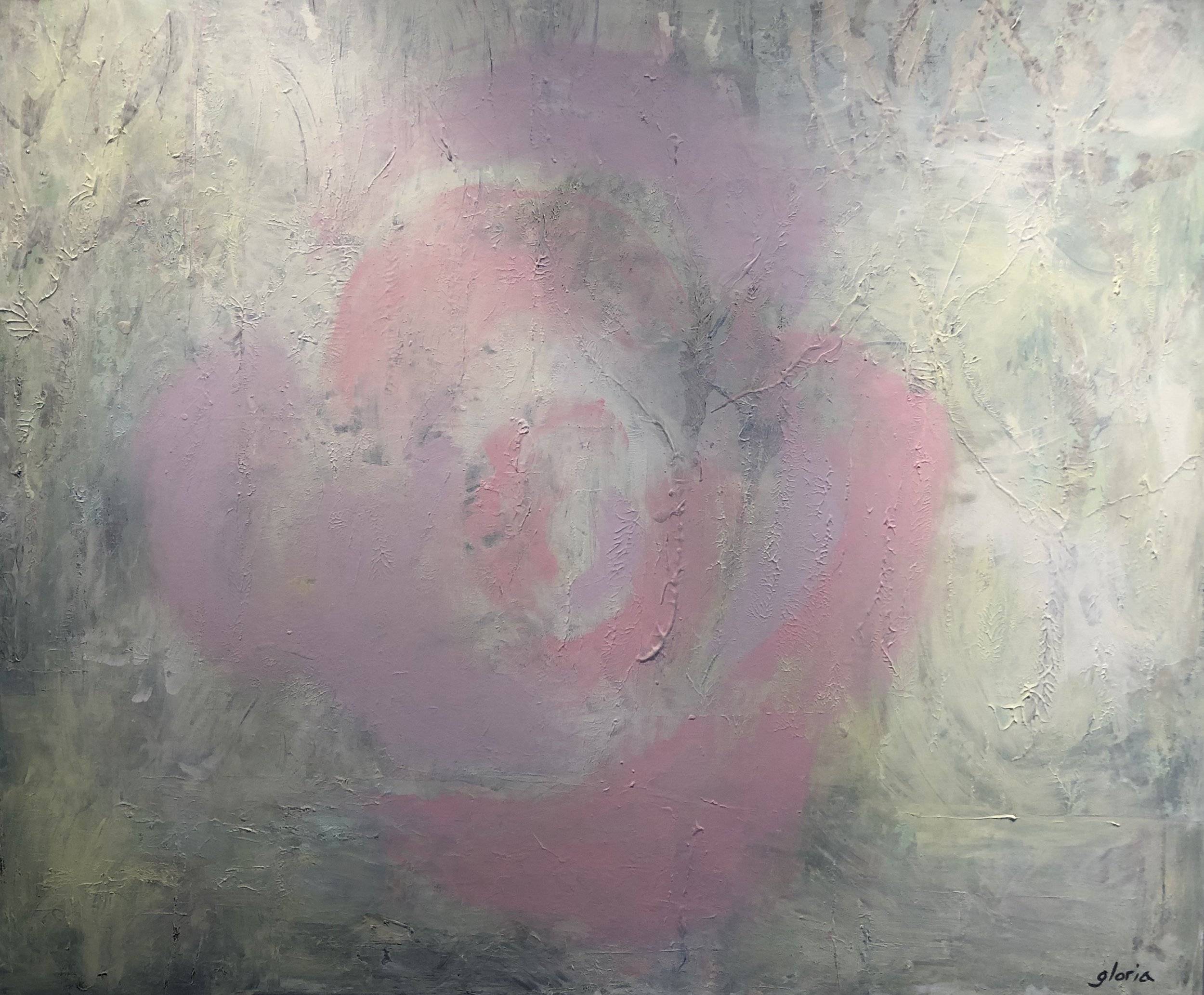 """Dusty Rose"" acrylic on stretched canvas, (42.5""x 51"") $2,500"