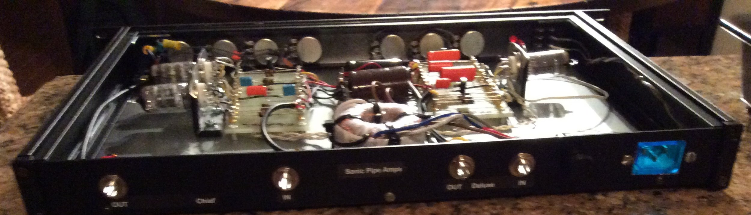 Gut shot of preamp showing low profile toroid transformer and turret boards with juicy caps and NOS 12AX7 tubes