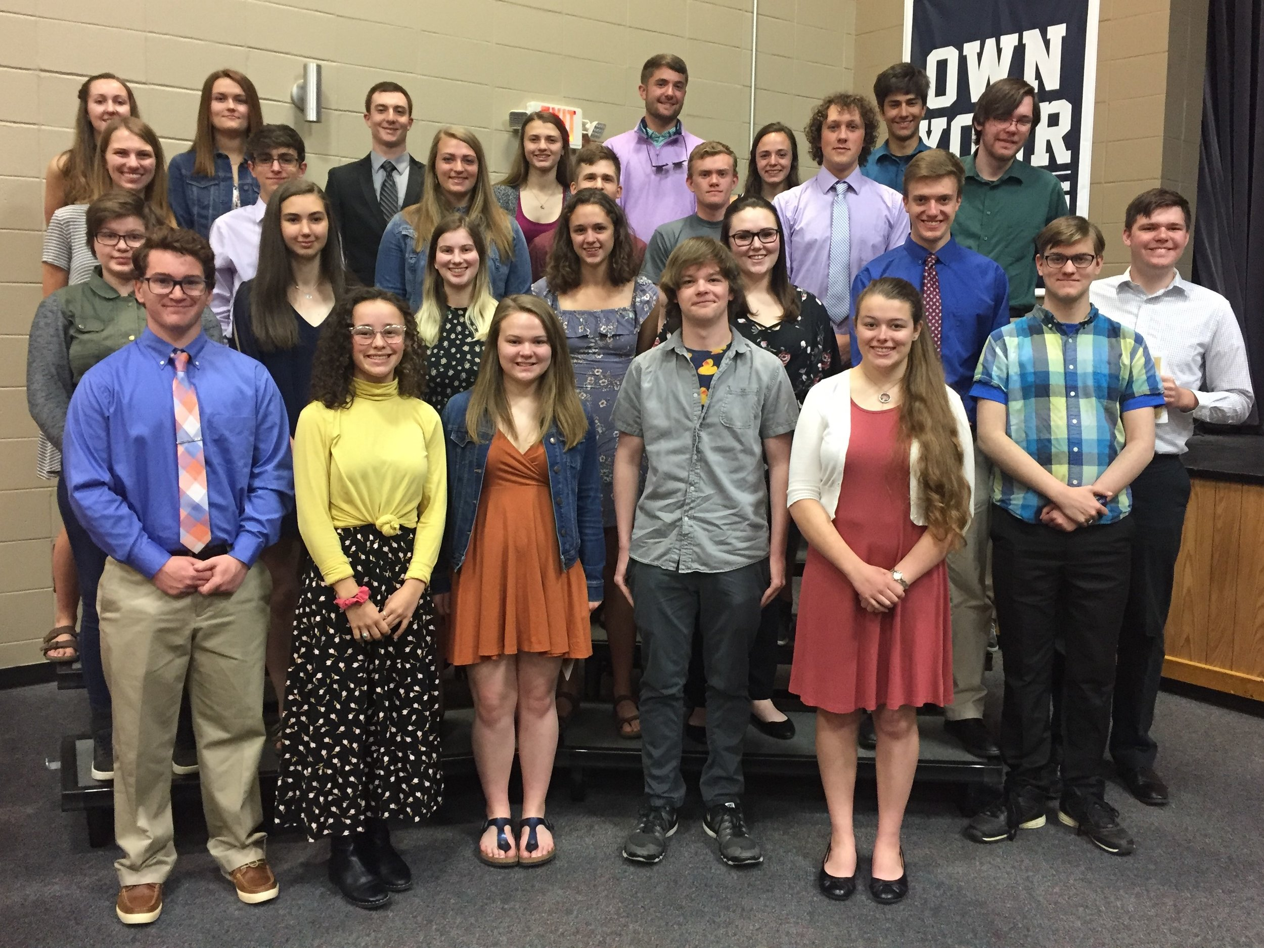 "Front row: Nickolas Heysler - Outstanding CTE, Mt Washington Valley CTC; Isabella Gaetjens-Oleson - Salutatorian, WMRHS; Amy Cotter - Salutatorian, Kennett High School; Carson Smith - Valedictorian, Kennett High School; Samantha Tower - Salutatorian, LinWood School; Austen Keyser - Valedictorian, Pittsburg High School. Second row: Emily Rhonda Fellows - Salutatorian, Colebrook Academy; Nicole Marie Piette - Valedictorian, Littleton High School; Dakota Smith, Valedictorian, LinWood School; Haley Hodgdon - Co-Valedictorian, Profile School; Kassandra Amey; Thomas Oliver - Co-Valedictorian, Profile School; John ""Webb"" Kertis - Salutatorian, Woodsville High School. Third row: Abigail Bernier - Salutatorian, Gorham High School; Bryce Gauthier - Valedictorian, Gorham High School; Madisen Dumont - Outstanding CTE, Hugh J. Gallen CTC; Ethan Riggie - Salutatorian, Lisbon Regional School; Samuel Stiles - Outstanding CTE, Berlin Regional CTC; Samuel Greene - Salutatorian, Profile School; Jim Kertis - Salutatorian, Woodsville High School. Last row: Khaley Styles - Salutatorian - Groveton High School; Brooke Routhier - Valedictorian, Groveton High School; Dylan Benjamin Carpino - Valedictorian, Colebrook Academy; Logan Lopus - Valedictorian, Lisbon Regional School; Joseph DePalma IV - Salutatorian, Littleton High School; Blaine Lachance - Outstanding CTE, Arthur T. Paradice Regional CTE; Sunjay Sood - Valedictorian, White Mountains Regional High School. Missing from photo: Joshua Berthiaume - Valedictorian, Berlin High School; Kelsey Alimandi - Salutatorian, Berlin High School."