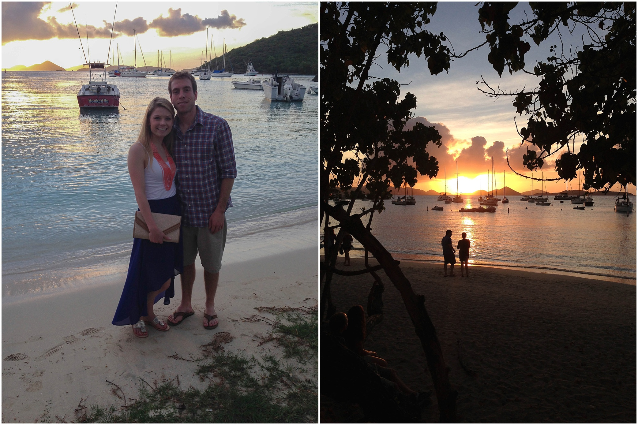 Our first night in Cruz Bay, and our view from dinner! Thank you to the person who offered to take a photo of us! (One of our only non-selfies from the trip!)