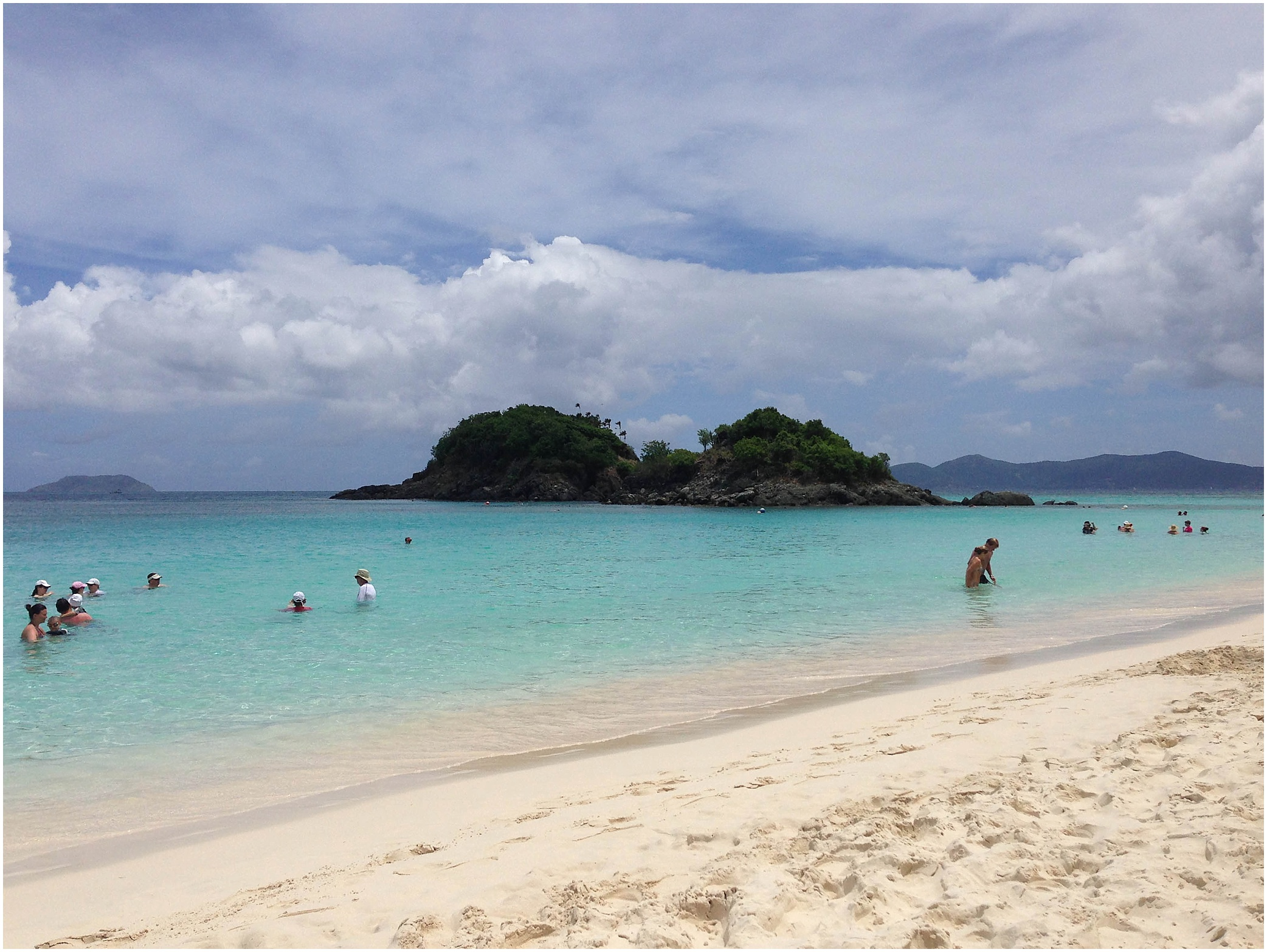 Trunk Bay! All around that island there is a snorkeling trail...this beach was much more crowded than Cinnamon Bay! Thisis also a popular excursion placefor people on cruises. They dock in St. Thomas and come over to Trunk Bay on St. John for snorkeling!