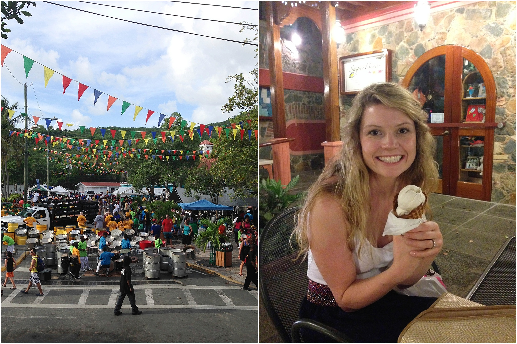 The steel drum festival!! This was such a fun experience and the sound of the drums was so island-y (is that a word?!) ...it was the perfect end to our visit!! Oh, and I'm pretty sure we got ice cream every single night! ;)
