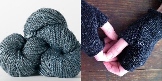 Acadia Yarn (left), Wabi Mitts by Karen Templer (right)