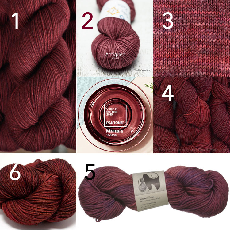 Yarns that look like Pantone's Marsala