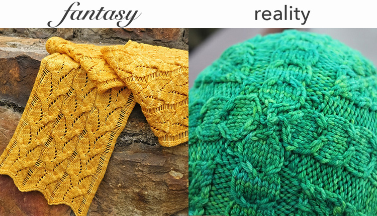 Left: Lucienne Scarf by Katinka Designs, Right: Shelby hat by Katinka Designs.