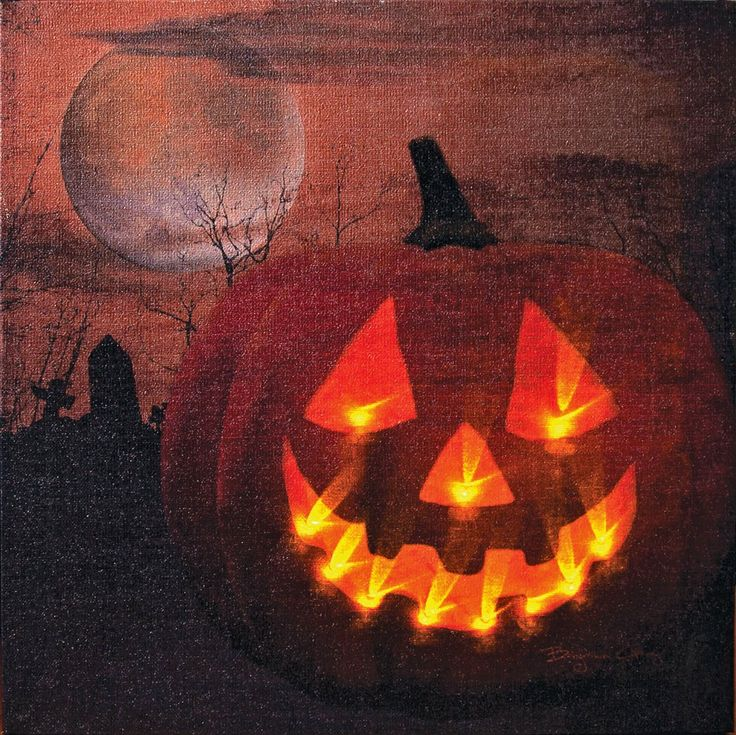"""Awesome jack-o-lantern on canvas with lights from """"Kennedy"""" on Amazon. Click here!"""