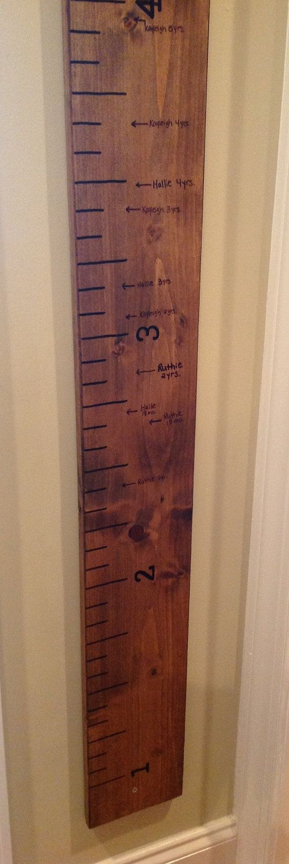 Wall-hung ruler makes measuring height a movable cinch.