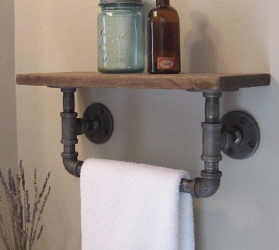 Pipe towel rack: buy from  Industrial Home Bazaar on Etsy  or click image for DIY instructions