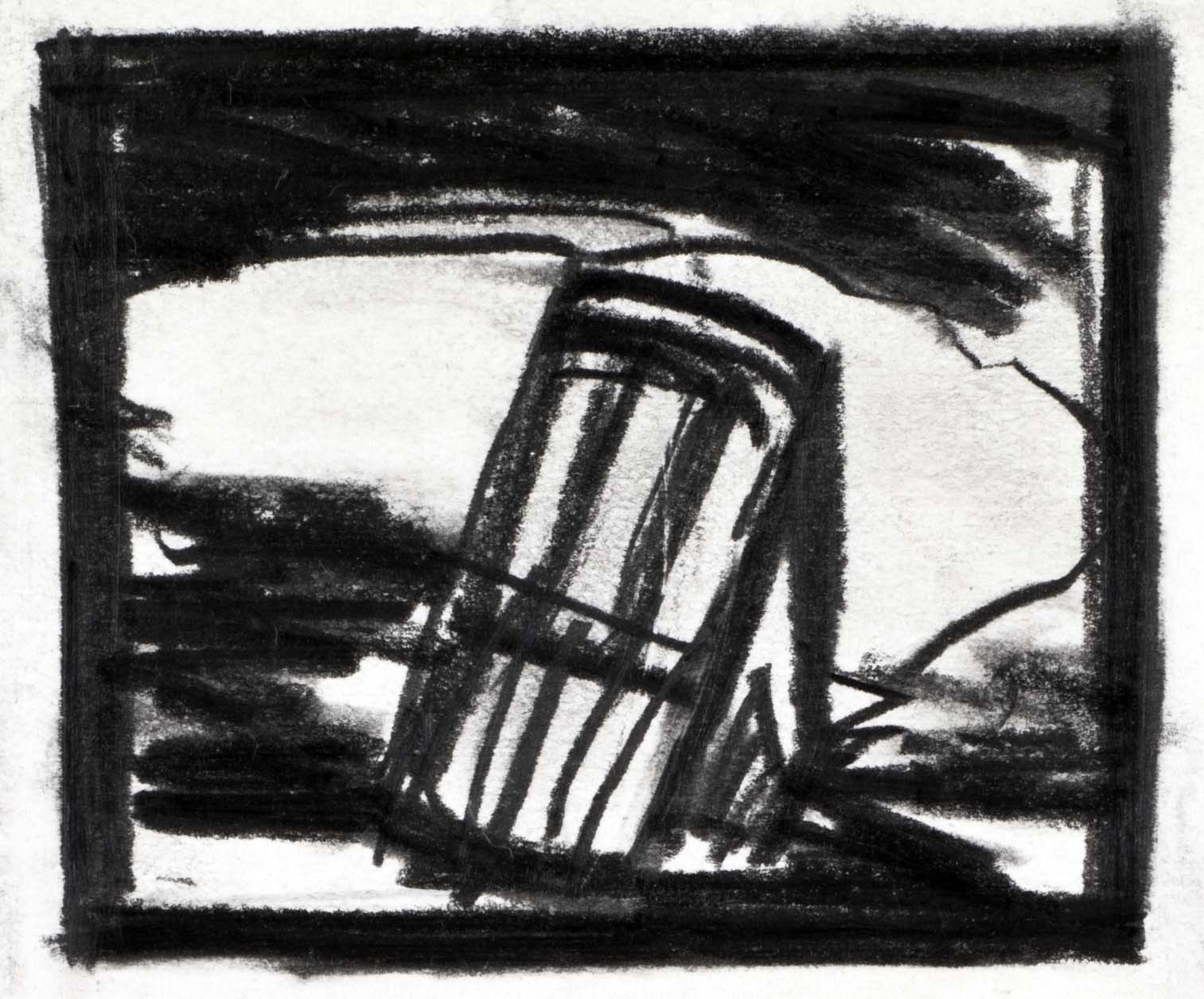 Storyboard sketch from   Einstein on the Beach  , 1976.  Charcoal on paper