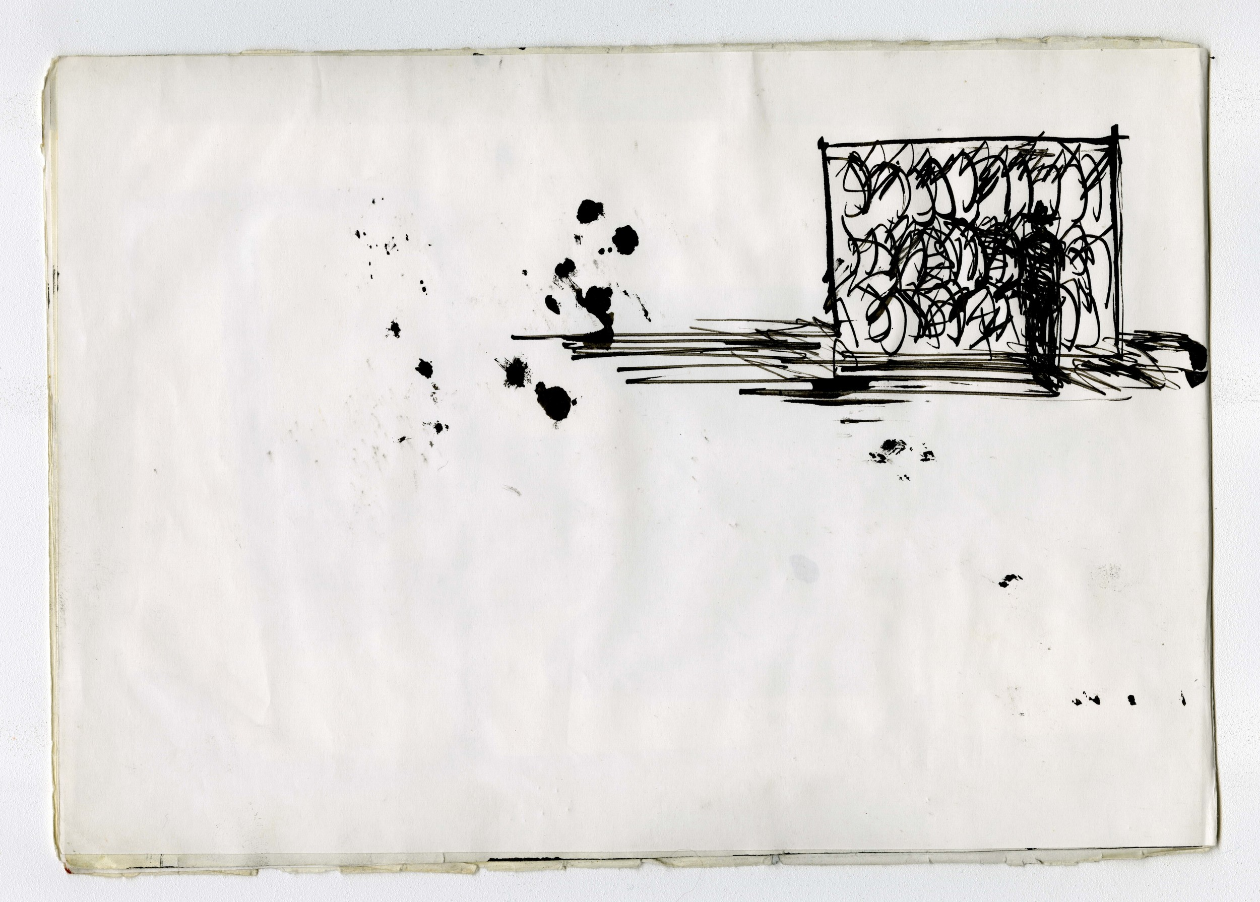 Sketchbook drawing from   Einstein on the Beach  , 1976.  Ink on paper