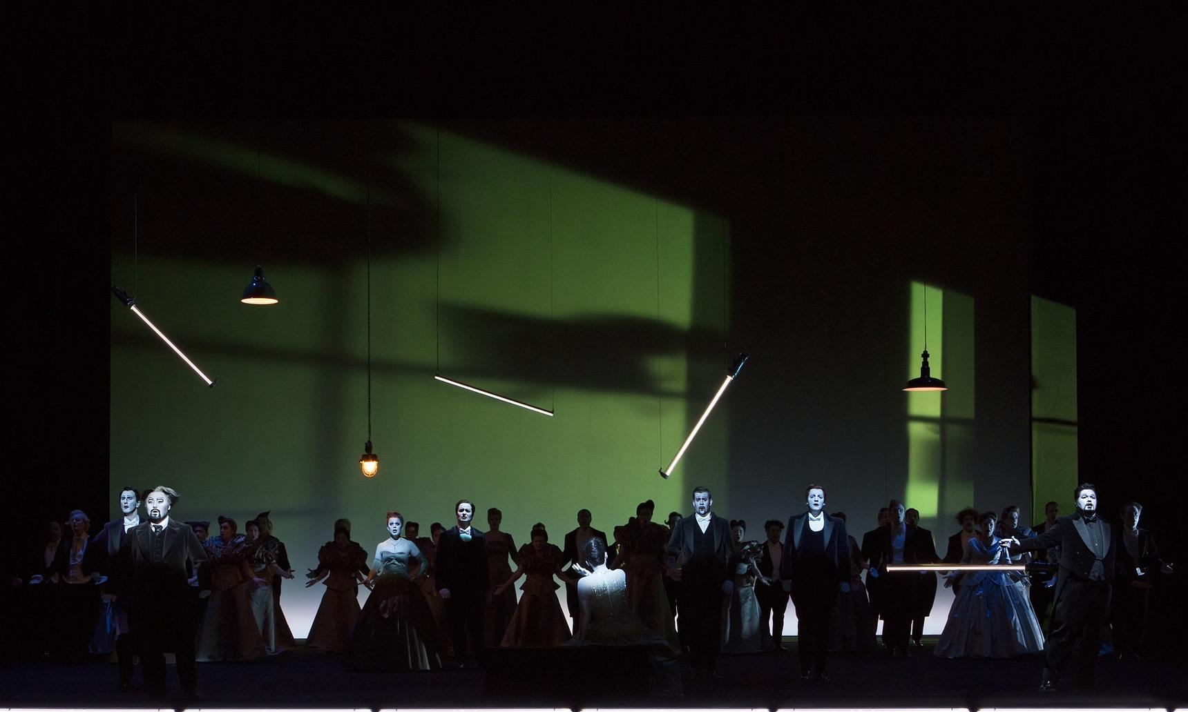 Act 2, Scene 2 - Achrainer (Douphol), Chang (Germont), Handsaker (Flora), Wagner (Marquis), Lee (Violetta), Nekel (Doctor), Schmidlechner (Gaston), le Roux (Alfredo), Chorus. Linz, 2015