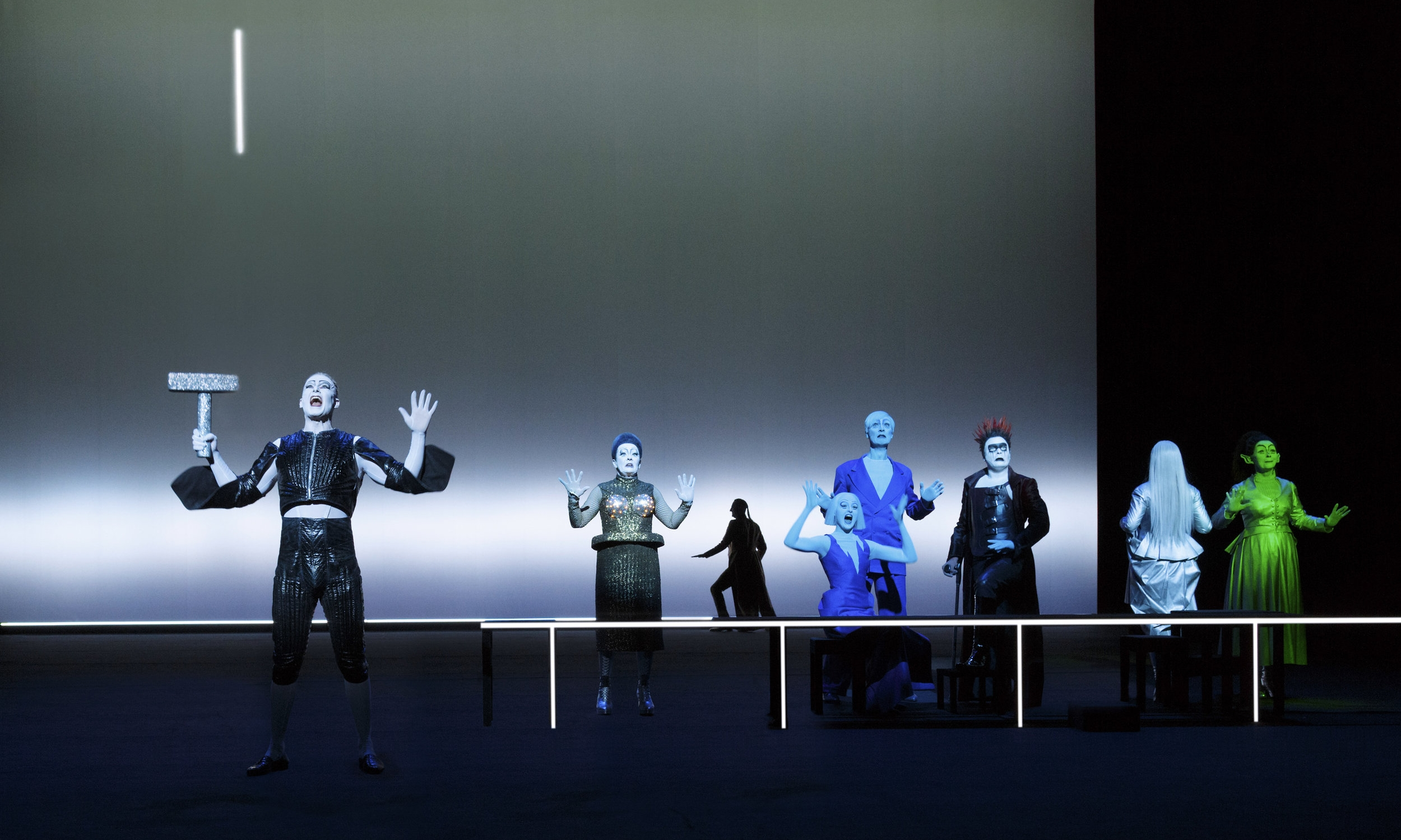 Scene 1B1 - The Gods are drinking: F. Winther (Tor), M. Krogh (Frigg), J. Rafaelsen (Ty), R. Reinsve (Frøya), O.G. Furuseth (Frøy), E. Nilsen Salthe (Loke), G. Jynge (Volva), U.V. Hol (Dauingen)