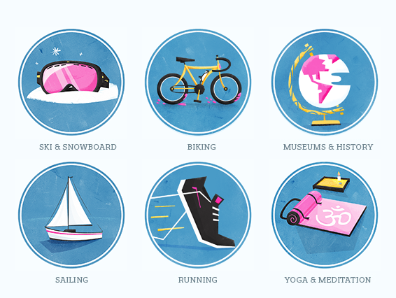 Extracurricular activities illustration with biking snowboarding running yoga