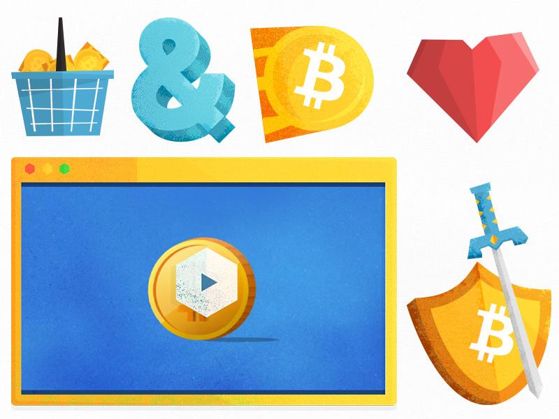 Bitcoin icon illustrations