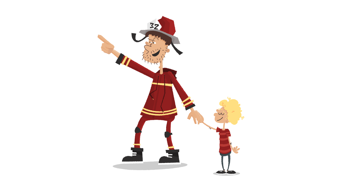 Fire man helping little boy cartoon