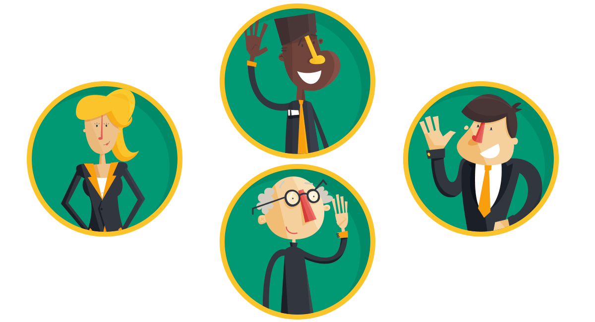 Financial advisor scientists character illustrations