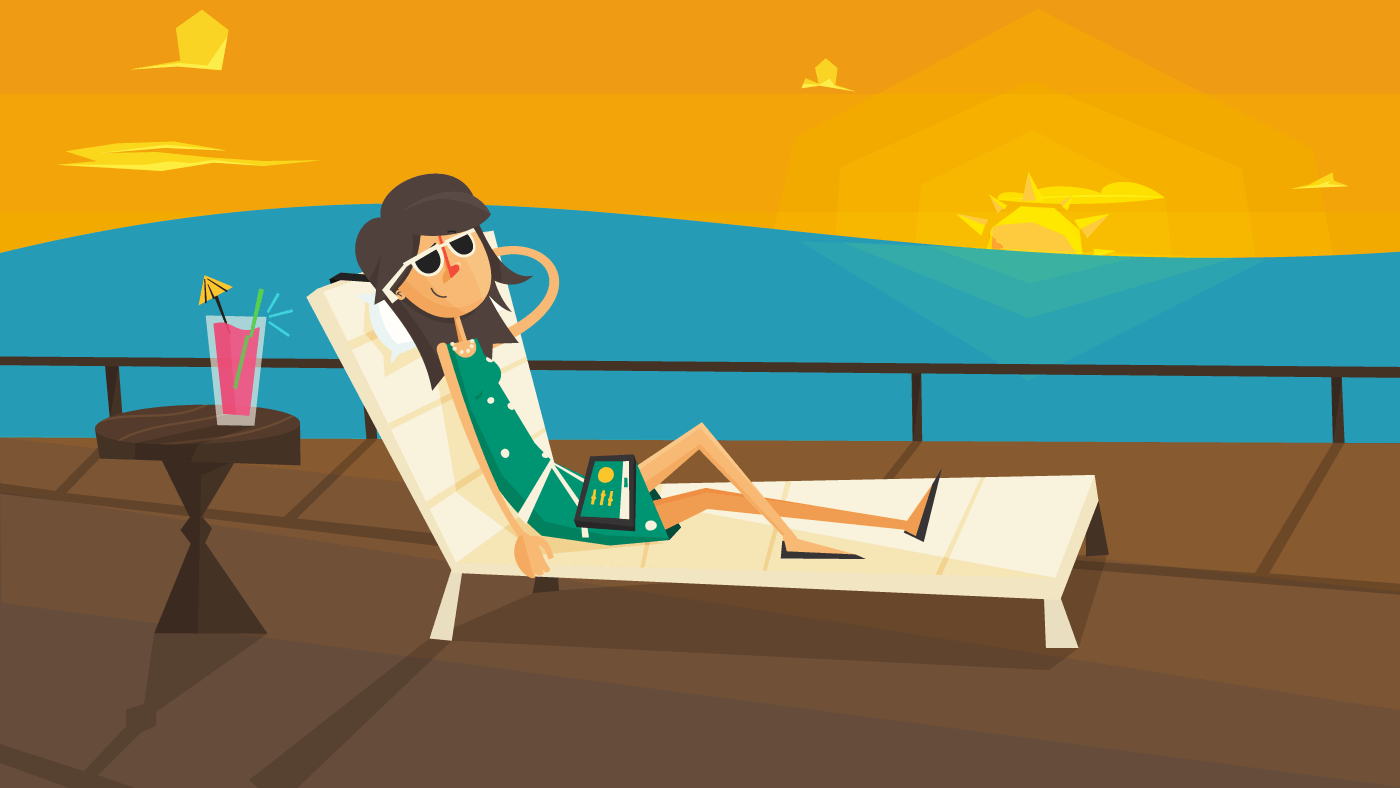 Relaxing on the beach with sunglasses
