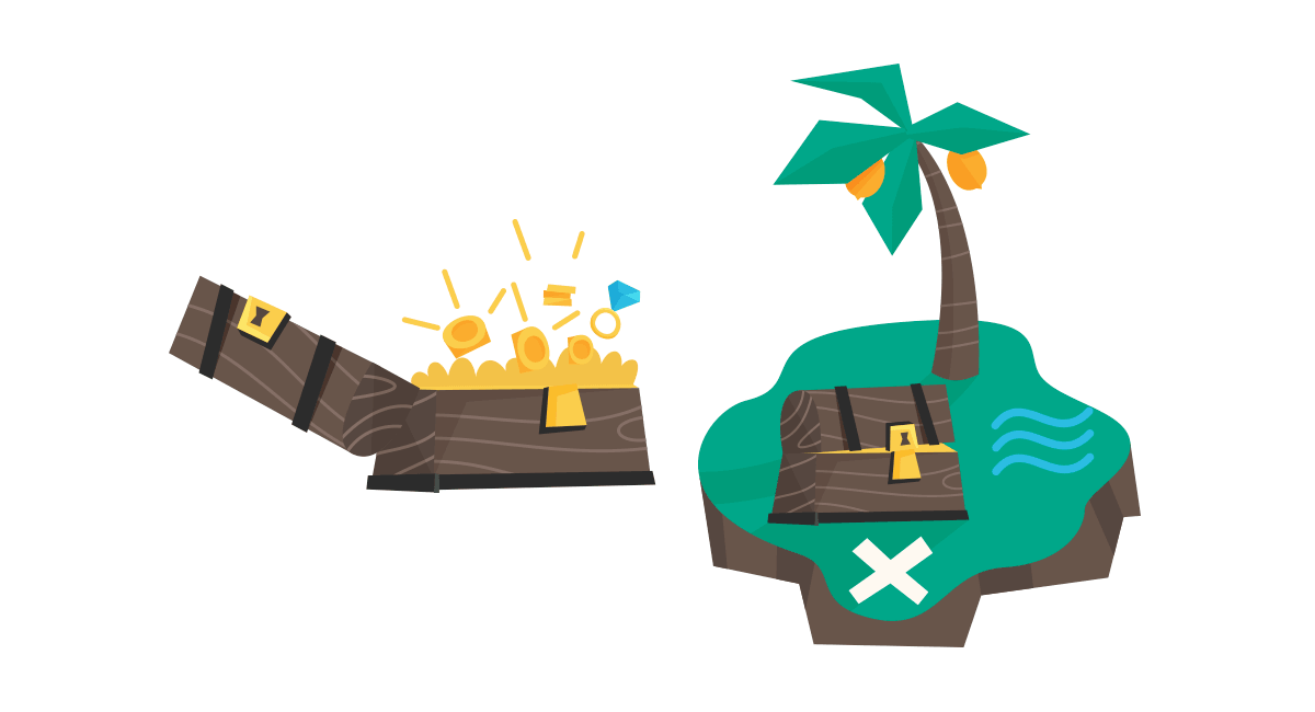 Treasure chest and island illustraitons