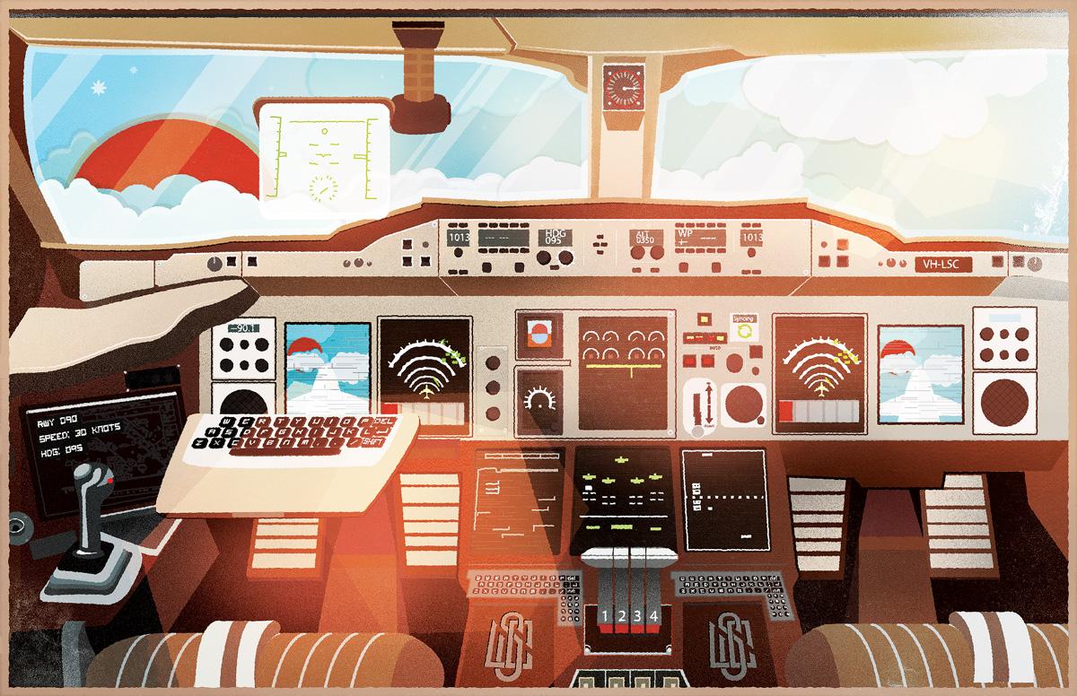 Liquid Shot Co A380 Cockpit Illustration