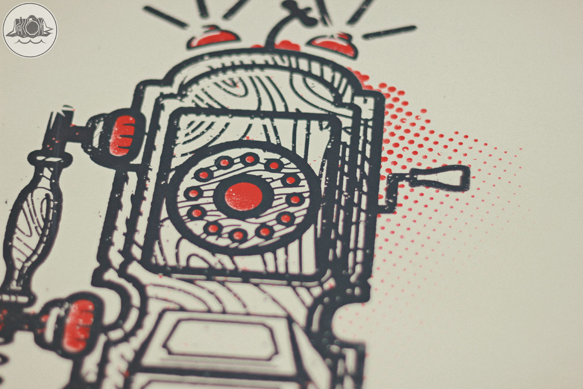 retro telephone screen print illustration