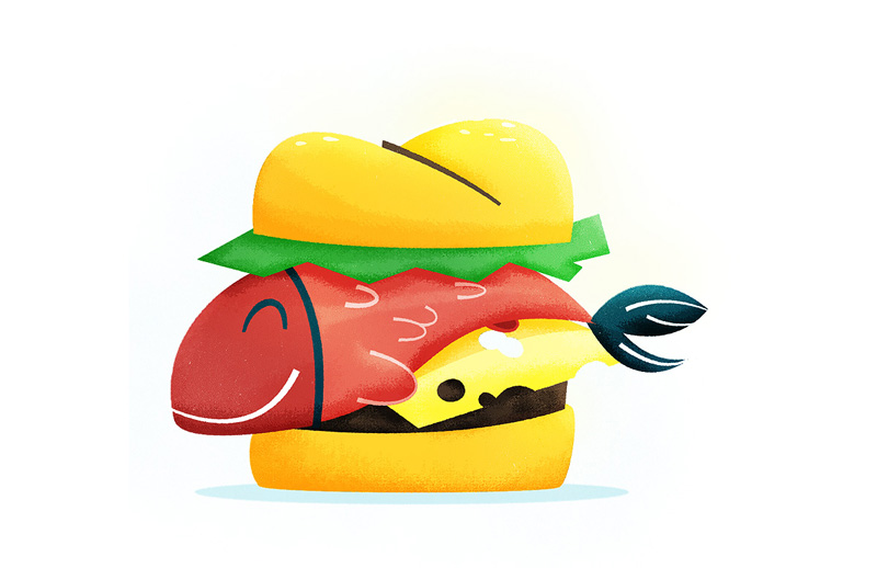 Fish sandwich illustration