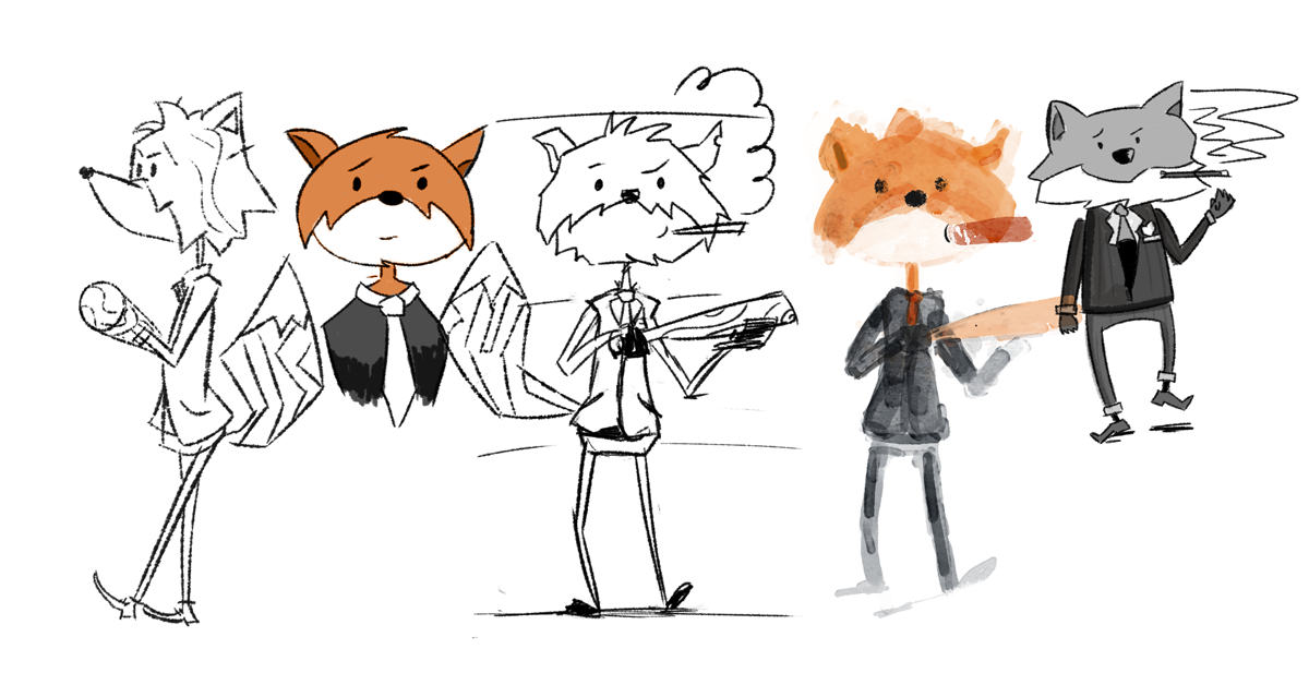 I discovered with some sketching that a fox's muzzle is key. Ok so his ears, slender type, duo tone face, and big poofy tail are going to be my best friends. There's my focal points!