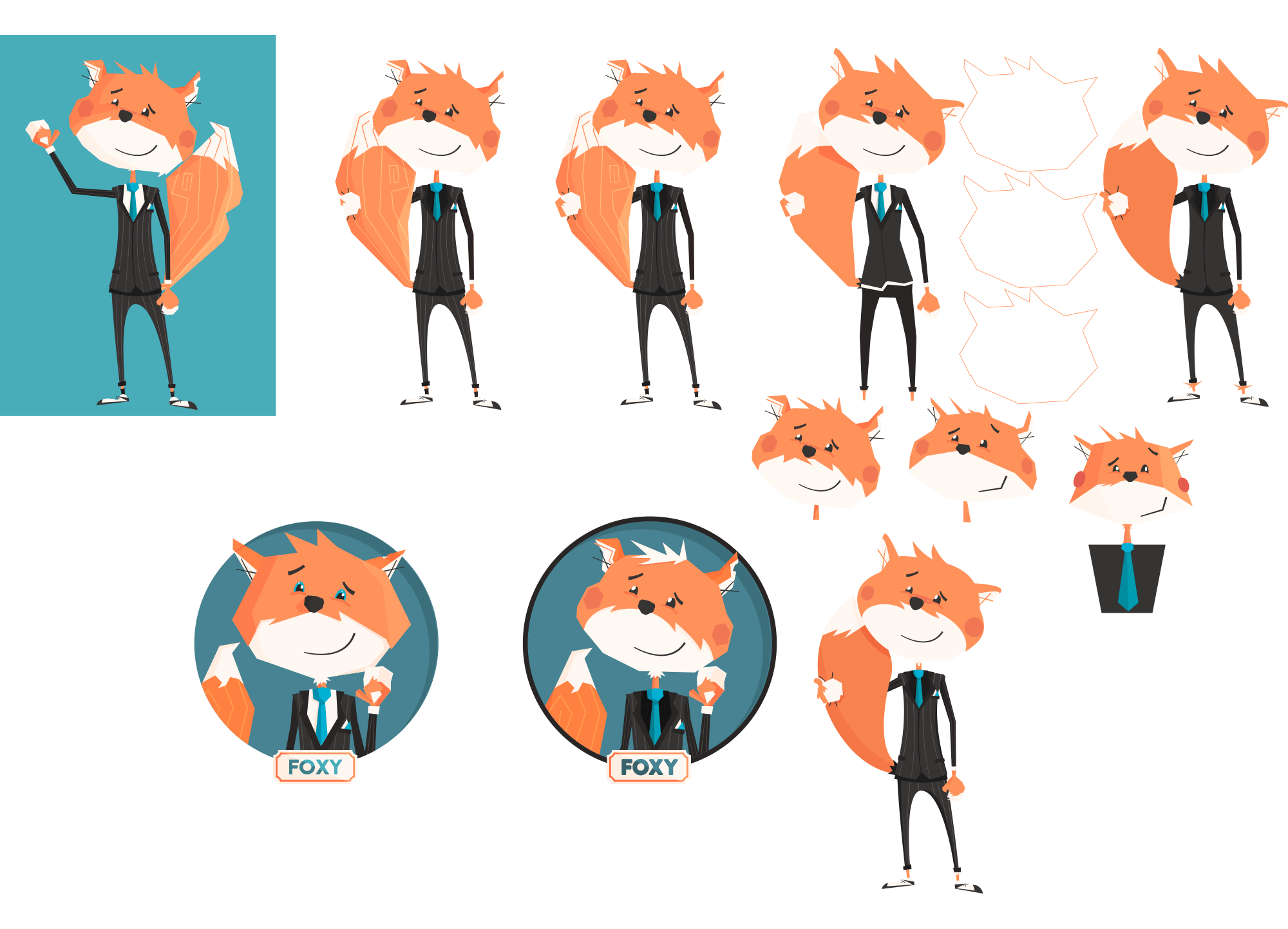 Various versions of Foxy. Notice the different styles. With/out rosey cheeks, scrappy/groomed fur.