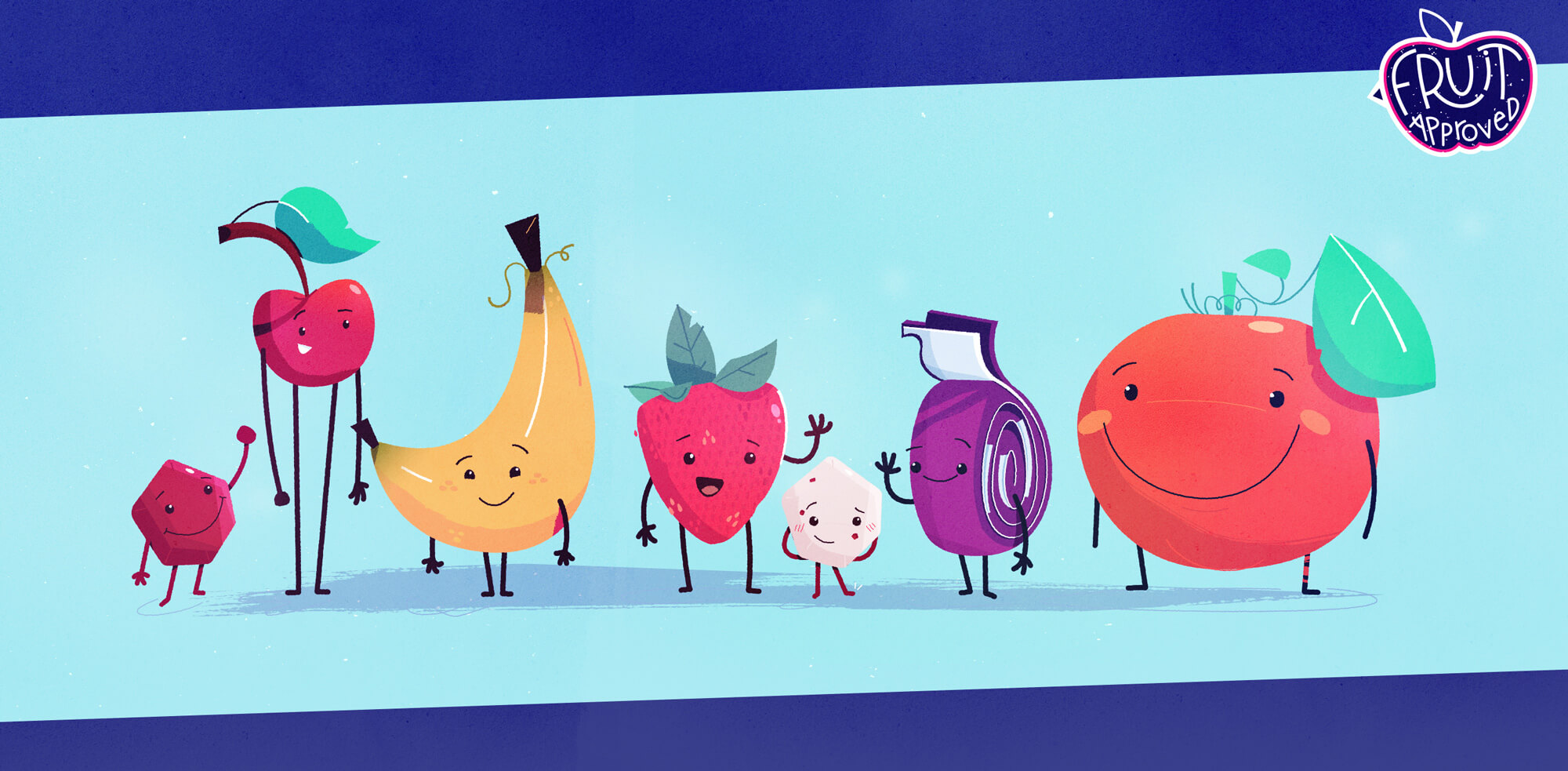 Early versions of the characters. Note the banana and orange are much sillier