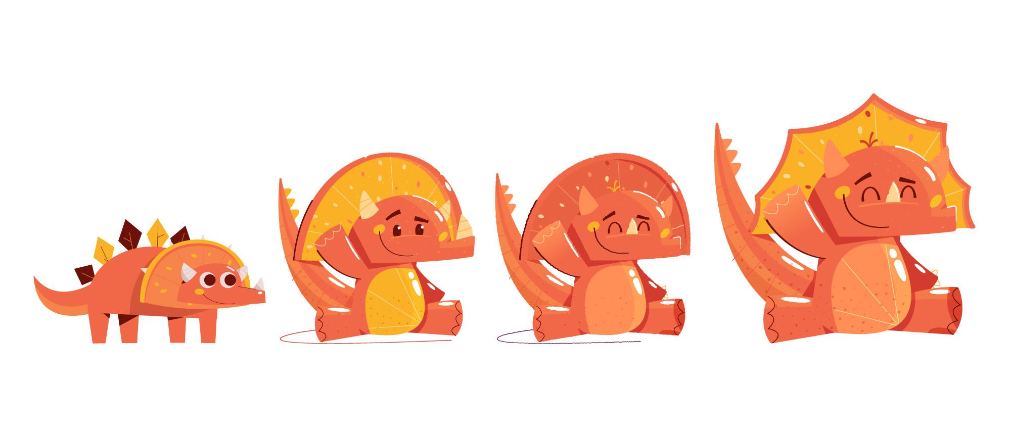 Publix Kids Vitamins Illustration - Kirk Wallace Orange Dinosaur